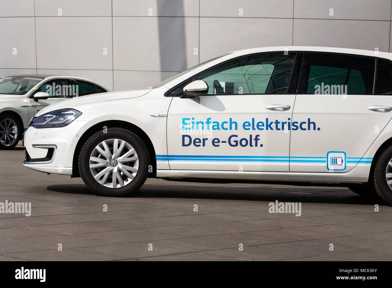 DRESDEN, GERMANY - APRIL 2 2018: Plug-in hybrid Volkswagen e-Golf ...