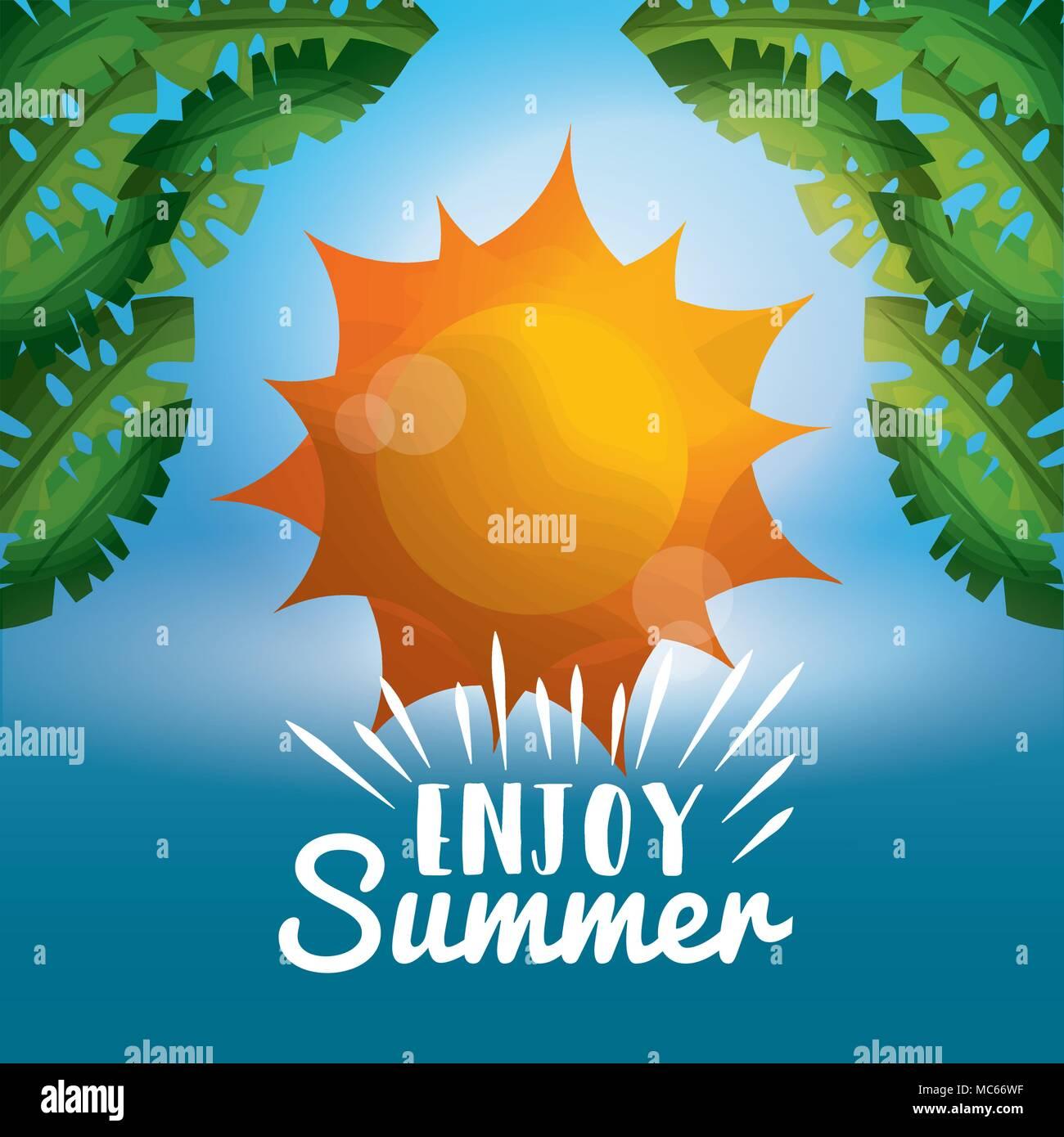 enjoy summer vacations - Stock Vector