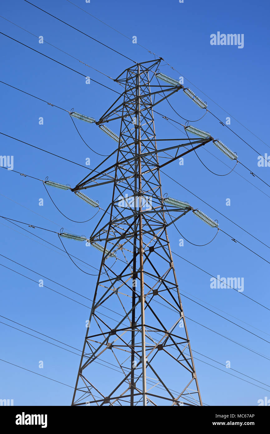 Electricity Pylon, Low Angle - Stock Image