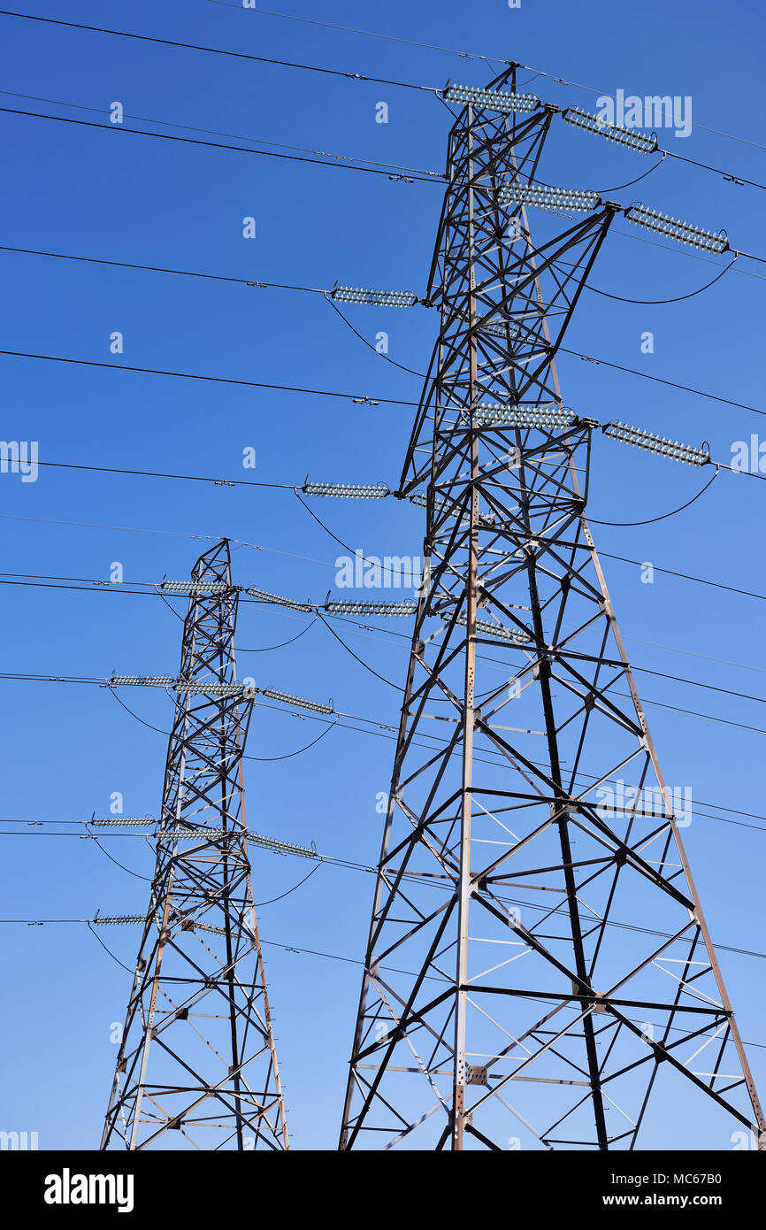 Electricity Pylons, Low Angle - Stock Image
