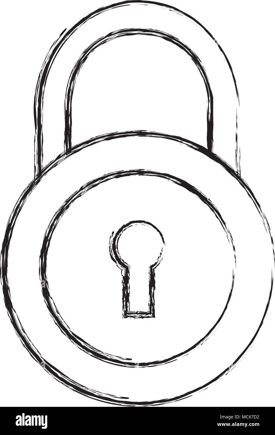 security padlock isolated icon - Stock Image