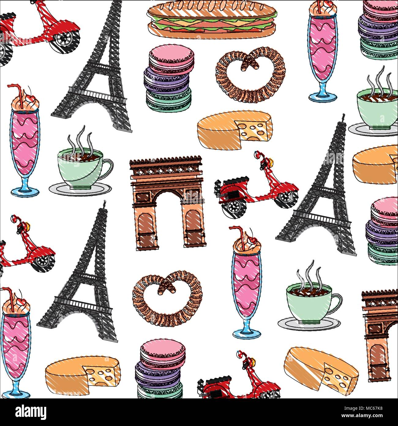 Map France Drawing Stock Photos Images Clip Files Clipboards 1701 Paris Background Arch Tower Eiffel Scooter Macaroon Image
