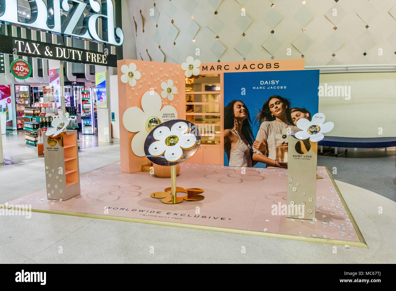 Marc Jacobs, Daisy perfume floor display at Manchester Airport, England, Uk in April 2018. - Stock Image