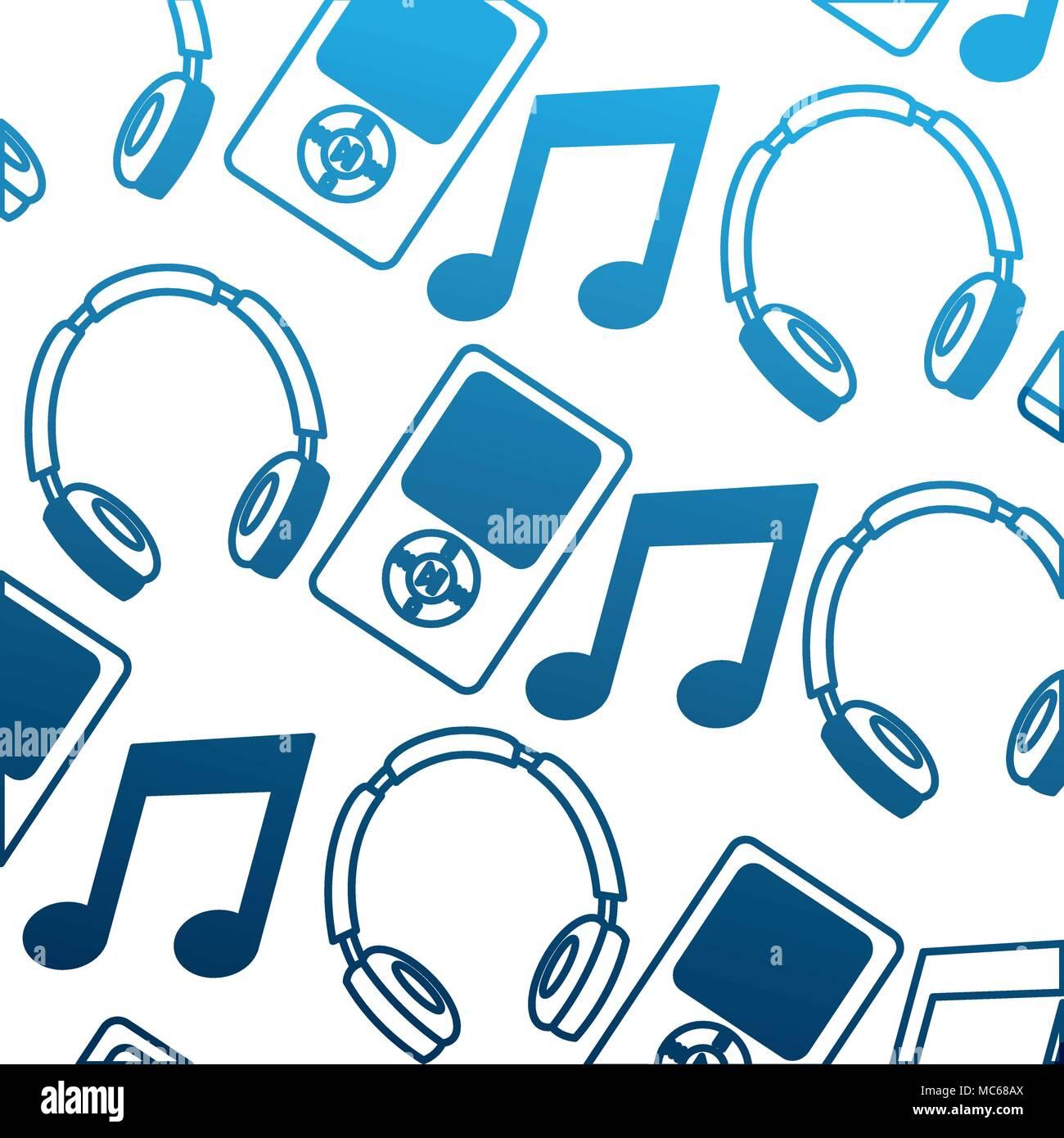 social media mp3 headphones music note pattern Stock Vector