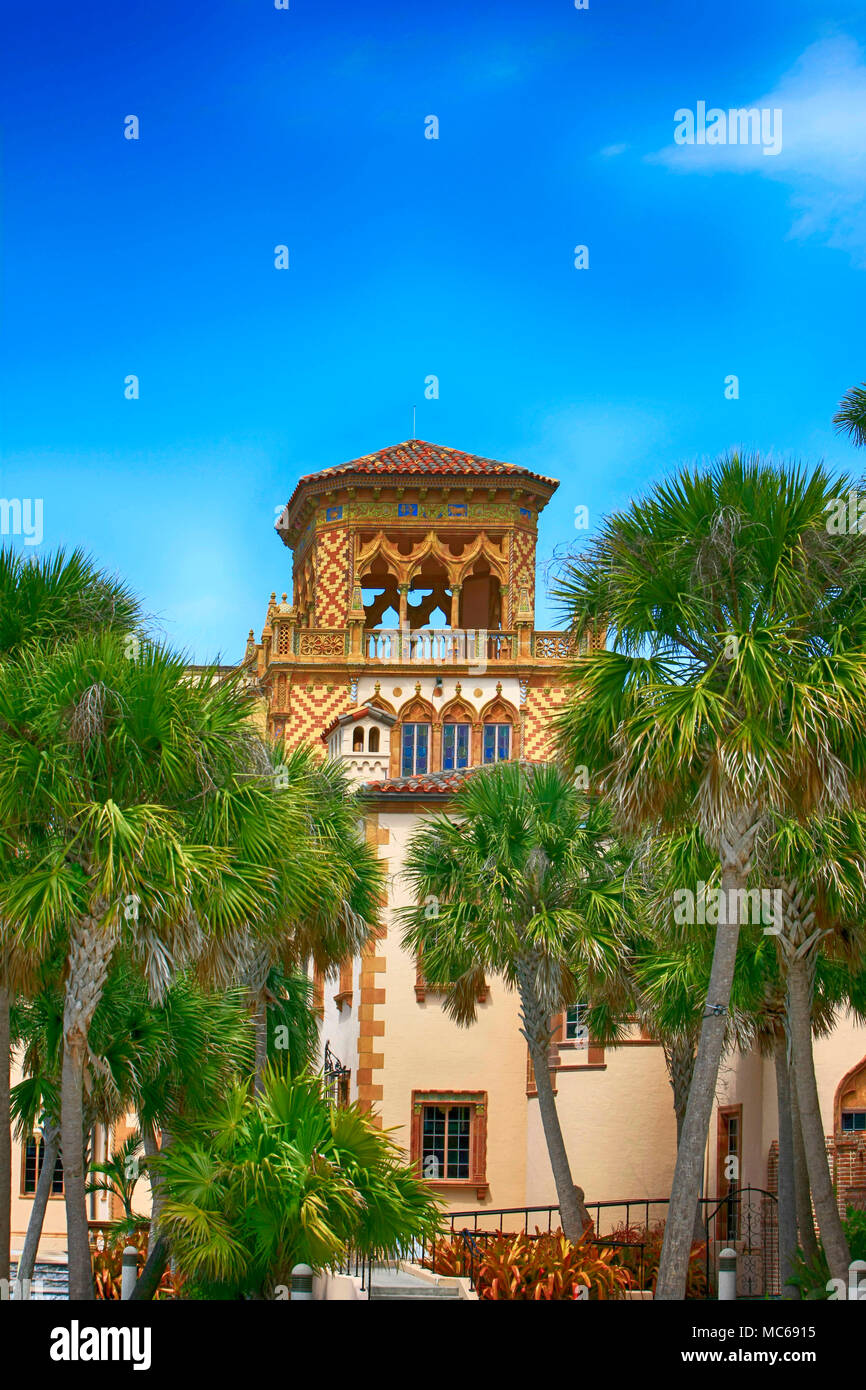 Architectural features of Ca D' Zan, the Ringling home in Sarasota FL, USA Stock Photo