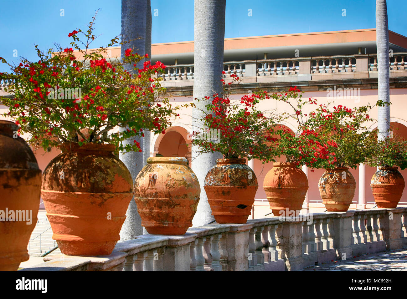 Large Terracotta pots in the garden at the Ringling Museum of Art in ...