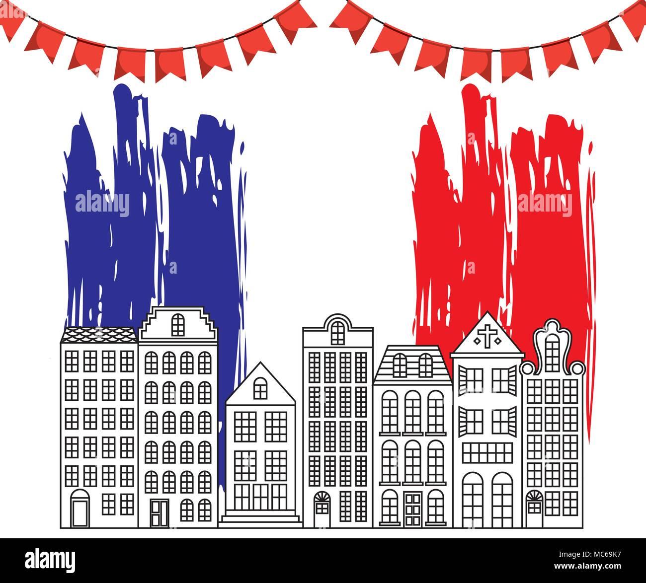 france paris architecture - Stock Vector