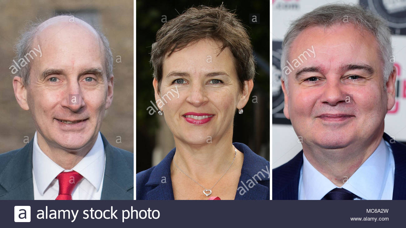 File photos of (from the left) Lord Adonis, Mary Creagh and Eamonn Holmes. - Stock Image