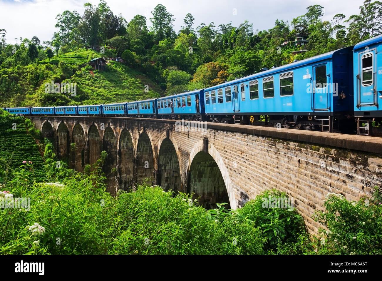 Ella Sri lanka, April 08 2018: train on the Nine Arch Bridge in Ella - Stock Image