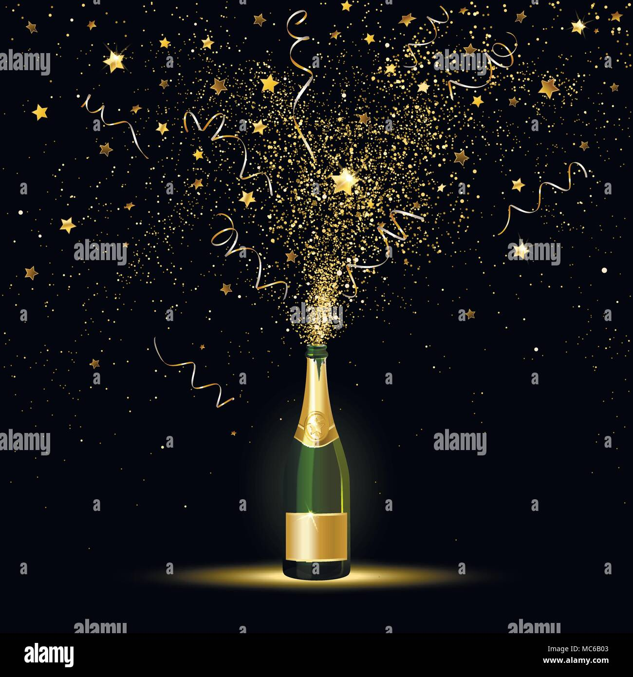 Champagne splashes of gold confetti on a black background - Stock Image