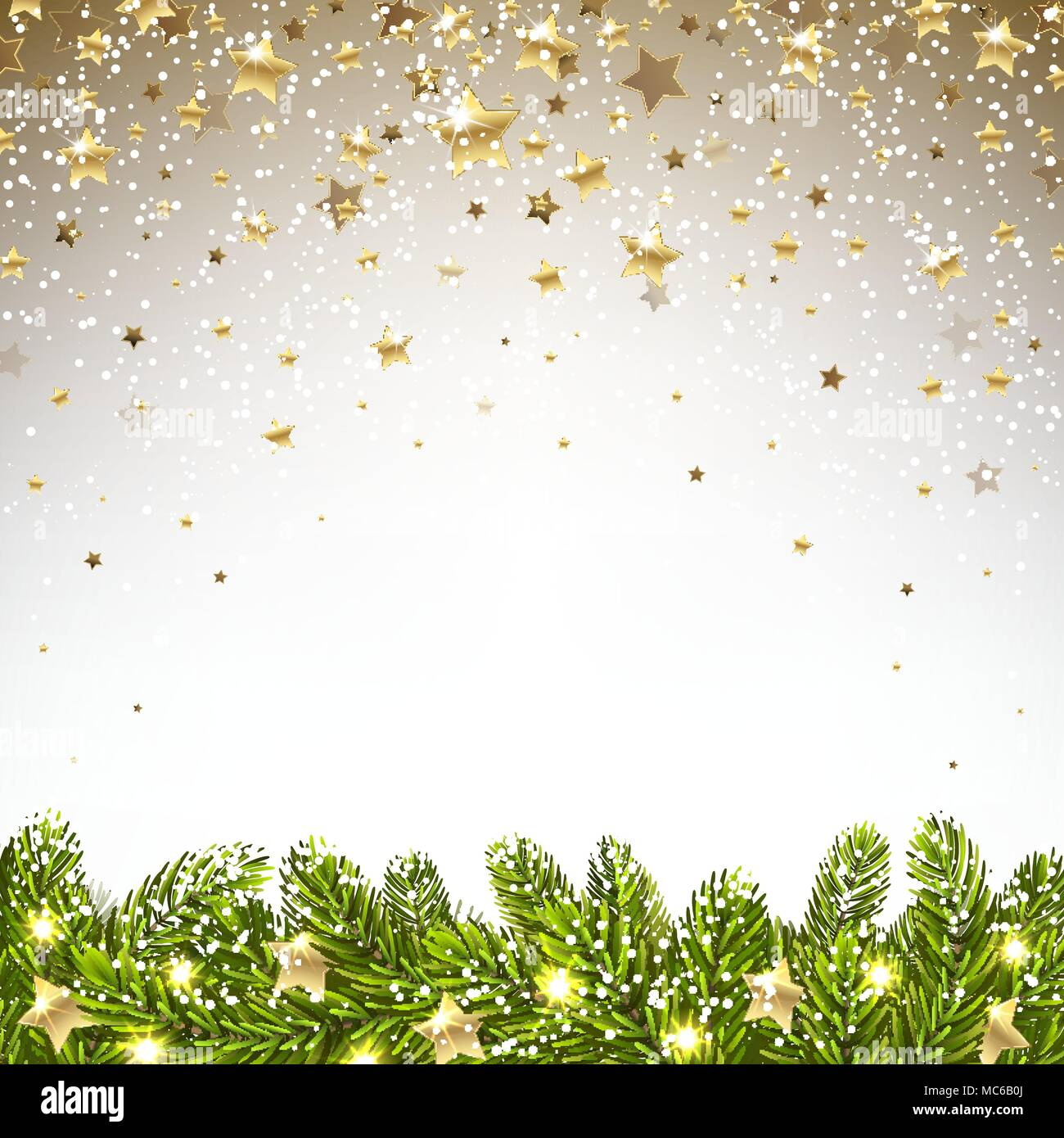 christmas background with falling stars and spruce branches - Stock Vector