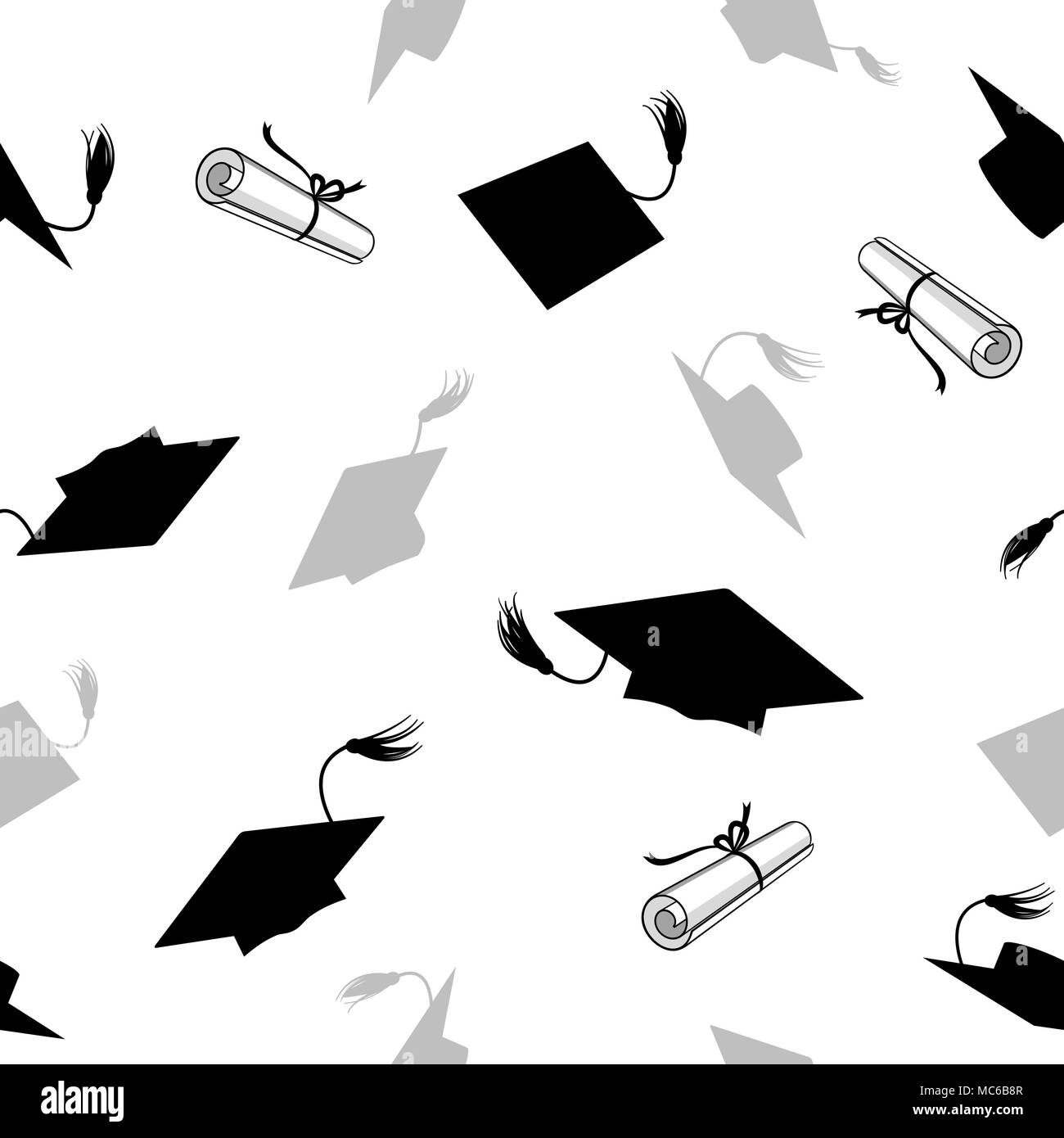 seamless pattern with graduation caps and diplomas stock vector art