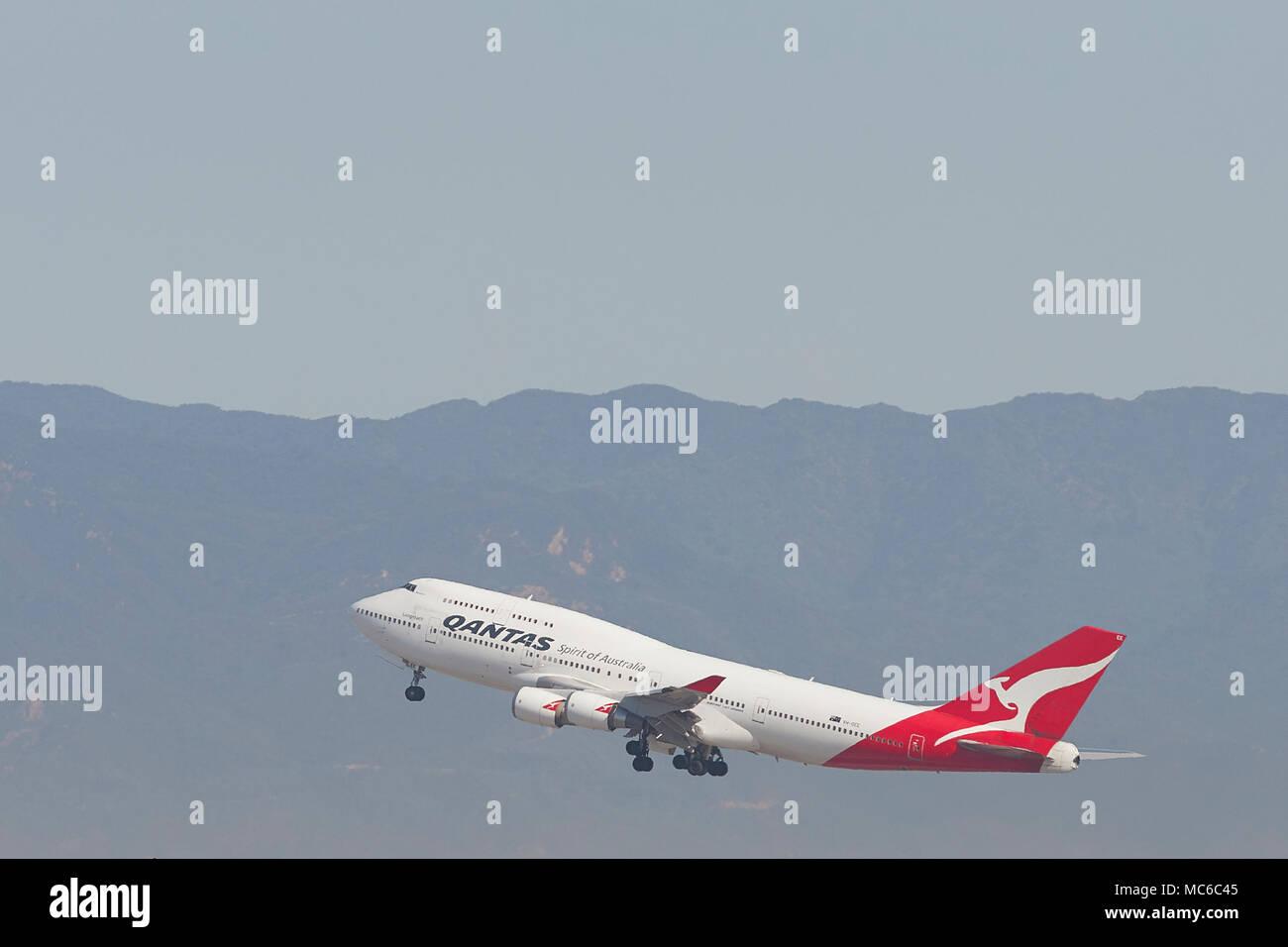 Qantas Airways Boeing 747-400 Jet Climbing Away From Los