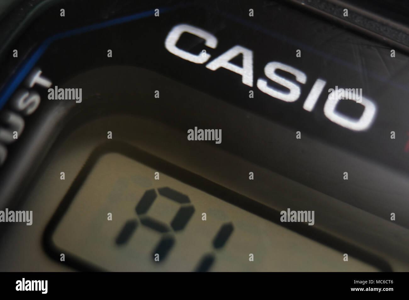 Casio digital quartz watch, close-up - Stock Image