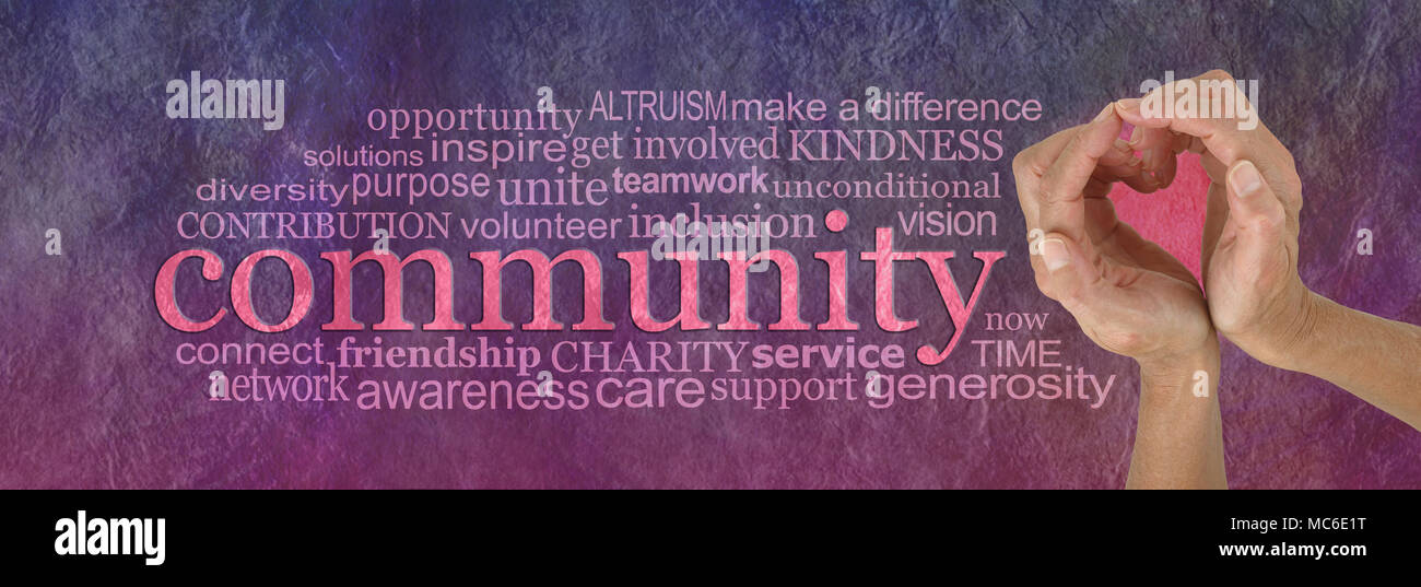 Female Hands Making A Heart Shape Against Rustic Stone Effect Pink Purple Banner Background With The Word COMMUNITY Surrounded By Tag Cloud