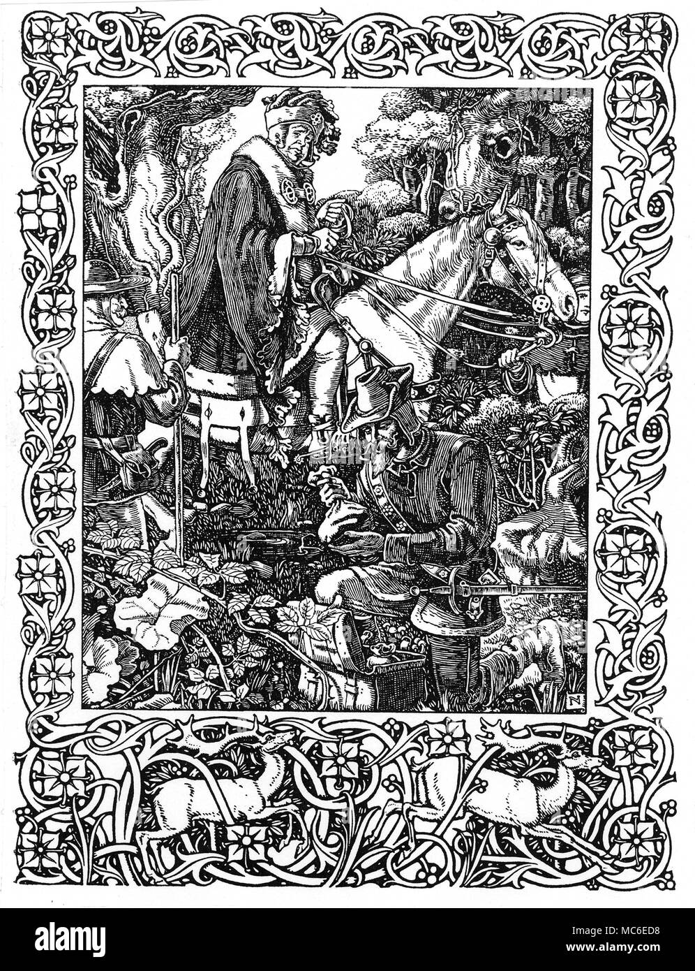 MYTHOLOGY - ROBIN HOOD Robin Hood and his Merry Men relieving the Sheriff of Nottingham of his wealth in Sherwood Forest.  From The Noble Birth and Gallant Atchievements of that Remarkable Outlaw, Robin Hood, by 'An Ingenious Antiquary'. - Stock Image