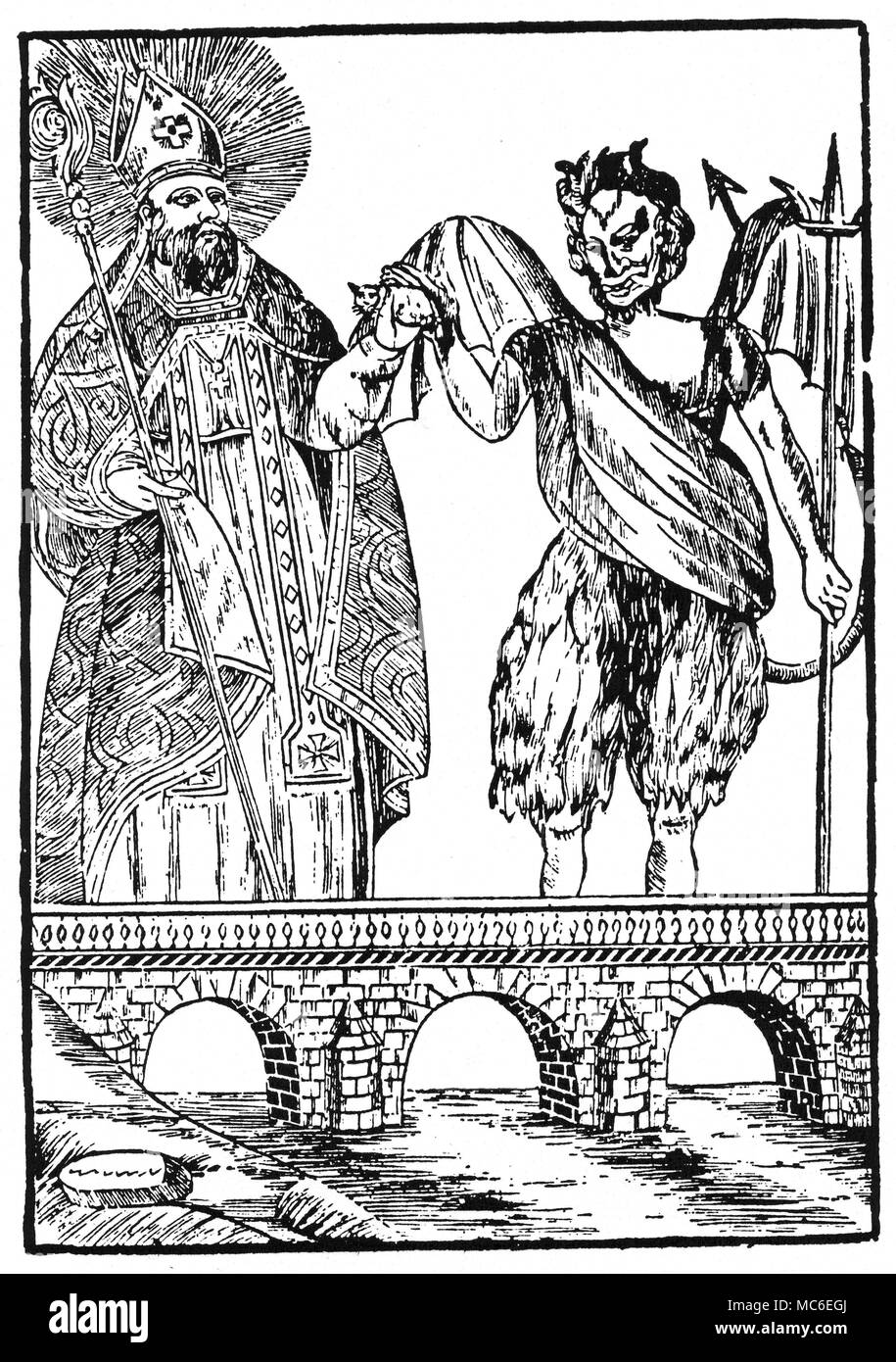 DEMONS - CATS A curious contract - Saint Cado offers the Devil a Cat, with the understanding that, in return, the Devil will build a bridge.   The print does not tell the whole story:  apparently, Saint Cado had tricked the Devil, who thought that he would receive, in return for his labours, a human soul.  Woodengraving of 1855. - Stock Image