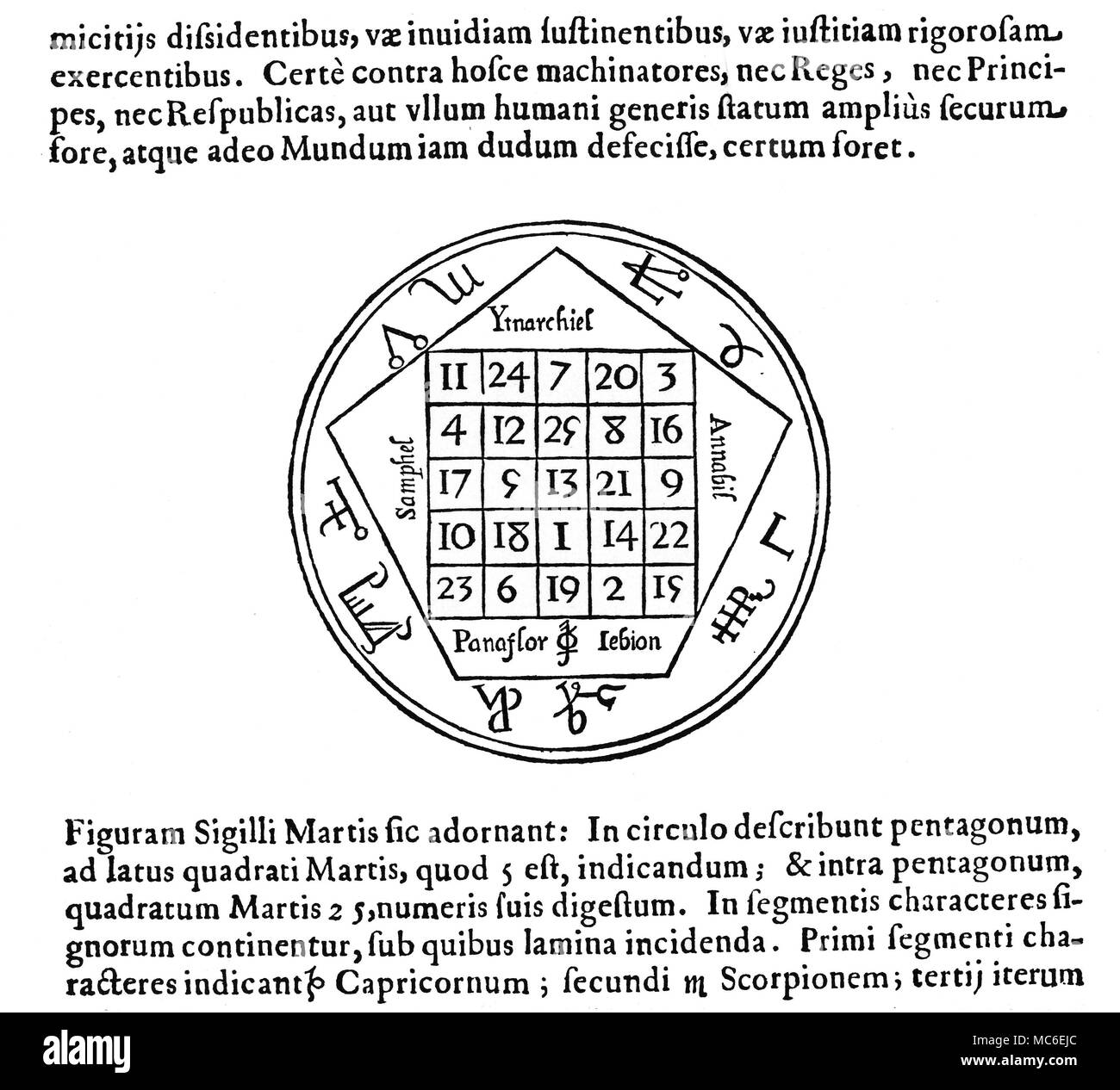 Athanasius black and white stock photos images alamy magic symbols magic squares mars the tabula martis or magic square of mars ccuart