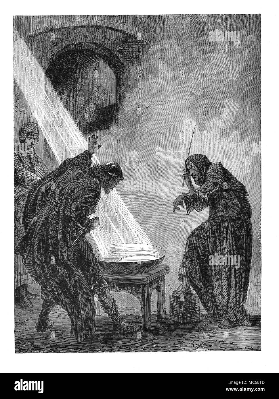 DIVINATION - CATOPROMANCY A witch divining the future by means of a mirror, reflecting light within a bowl of water:  woodengraving from Picturesque Science for the Young. - Stock Image
