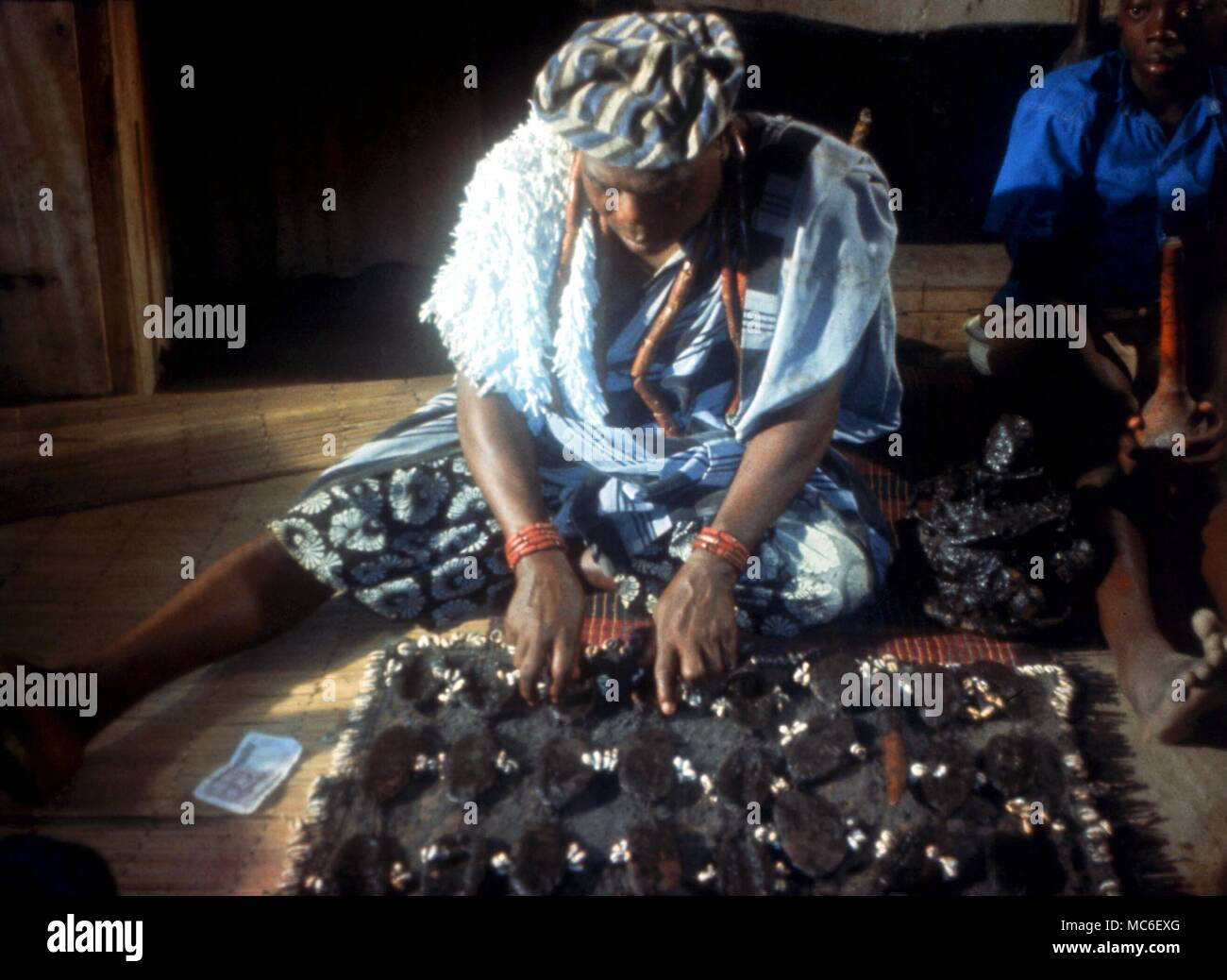 AFRICAN MAGIC - African witch-doctor casting a spell Stock