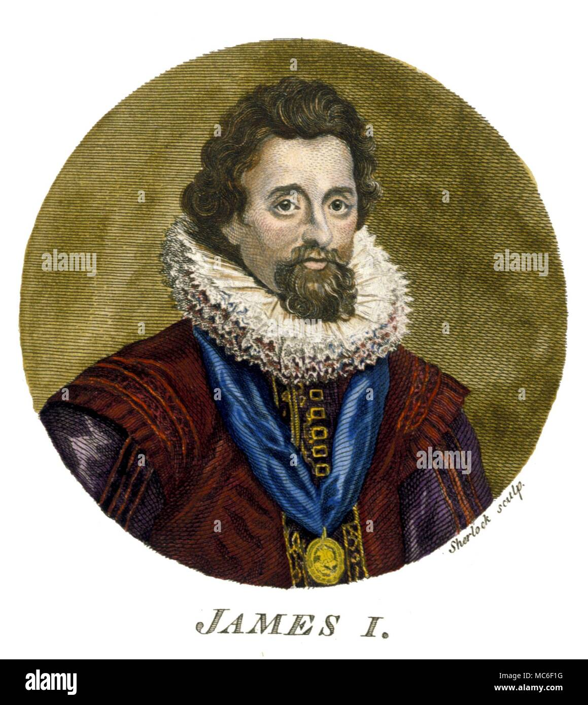 Occultists -  King James I of England (James IV of Scotland) (1566-1625) was the author of 'Daemonologie', a violent text against witchcraft - Stock Image