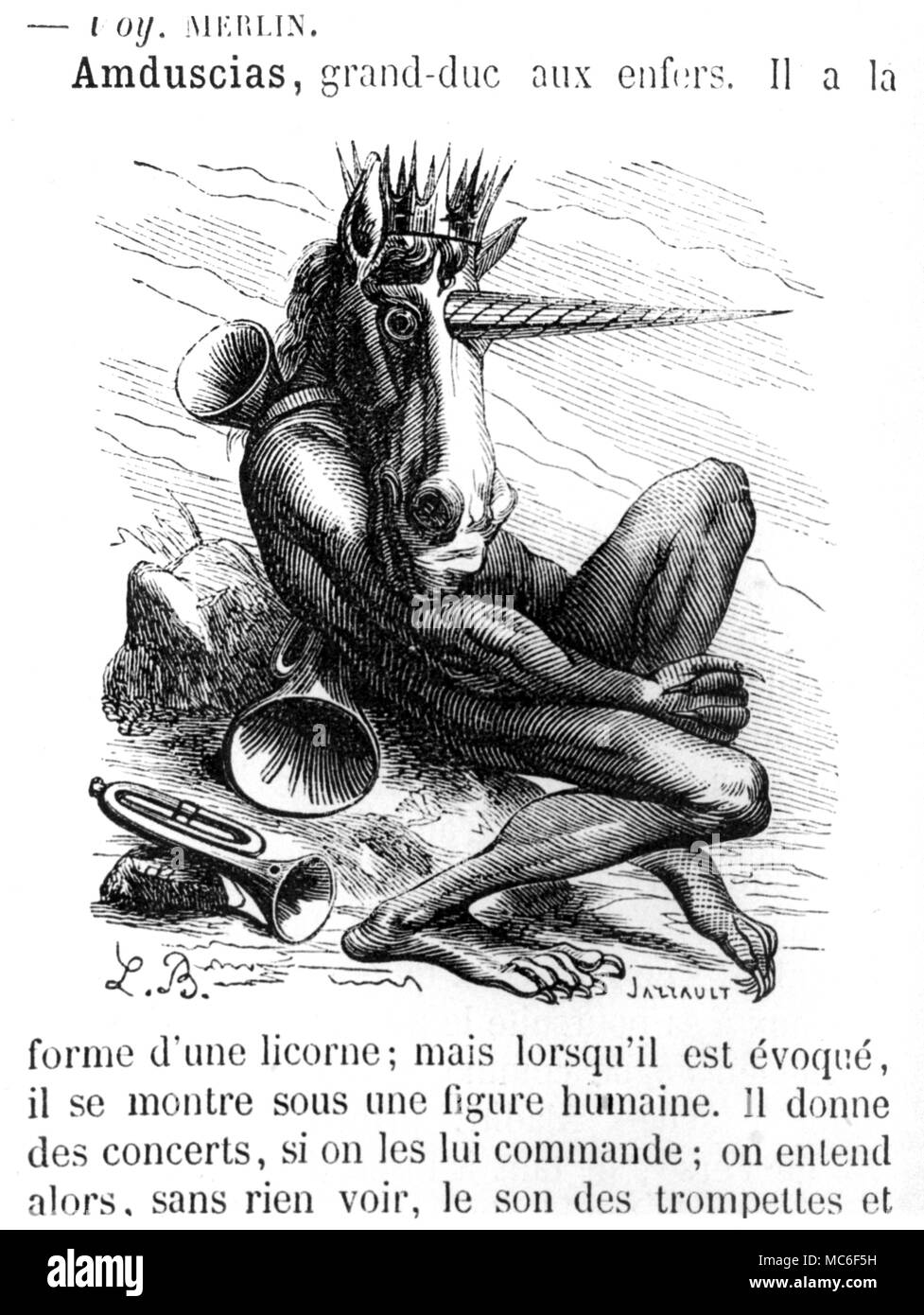The unicorn-demon, Amduscias, a grand-duke of the infernal legions, who is conjured mainly for his power to command sweet music (hence, the trumpets).  Woodengraving from Collin de Plancy's Dictionnaire Infernal, 1863 - Stock Image