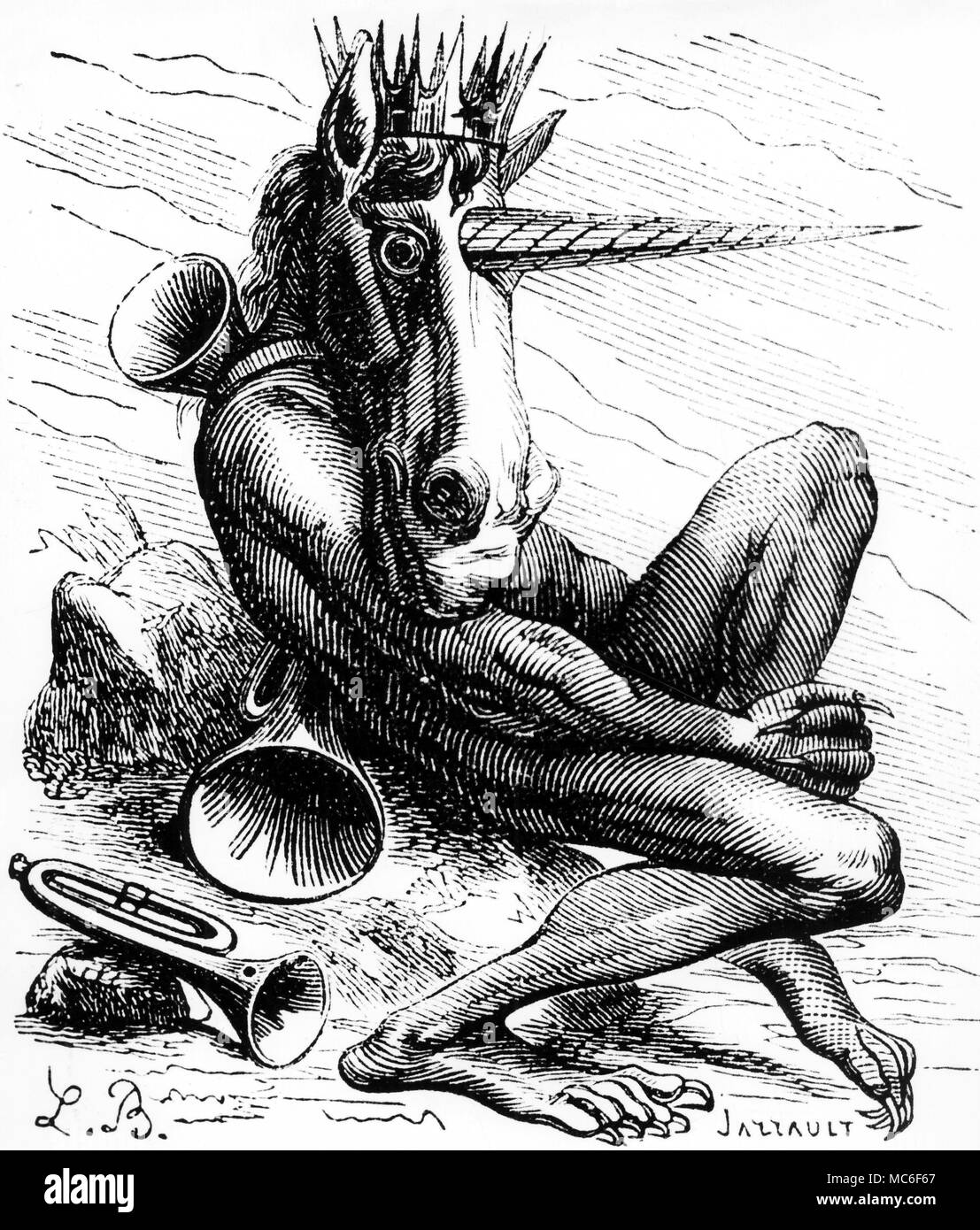 The demon Flauros, tiger-headed and a remnant o the ancient Egyptian pantheon - presumably of the cat-headed Bastet.  Woodengraving from Collin de Plancy, Dictionnaire Infernal, 1863. - Stock Image