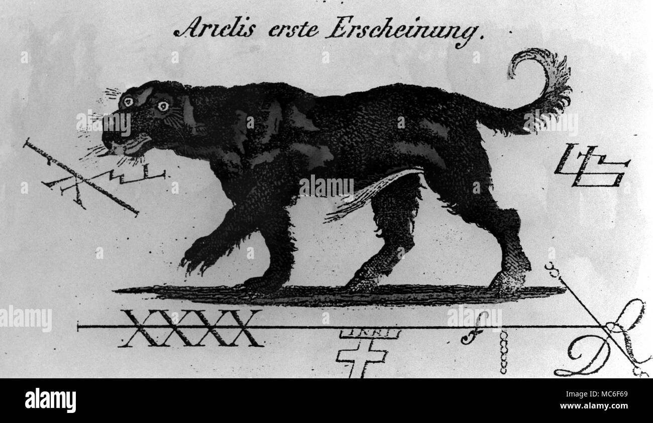 The appearance of the demon Arielis, when first conjured by the magician.  Three related sigils surround this canine demon, and carry as much magical weight as the image itself.  A hand-coloured drawing for Sheible's Faustbuch, circa 1851 - Stock Image