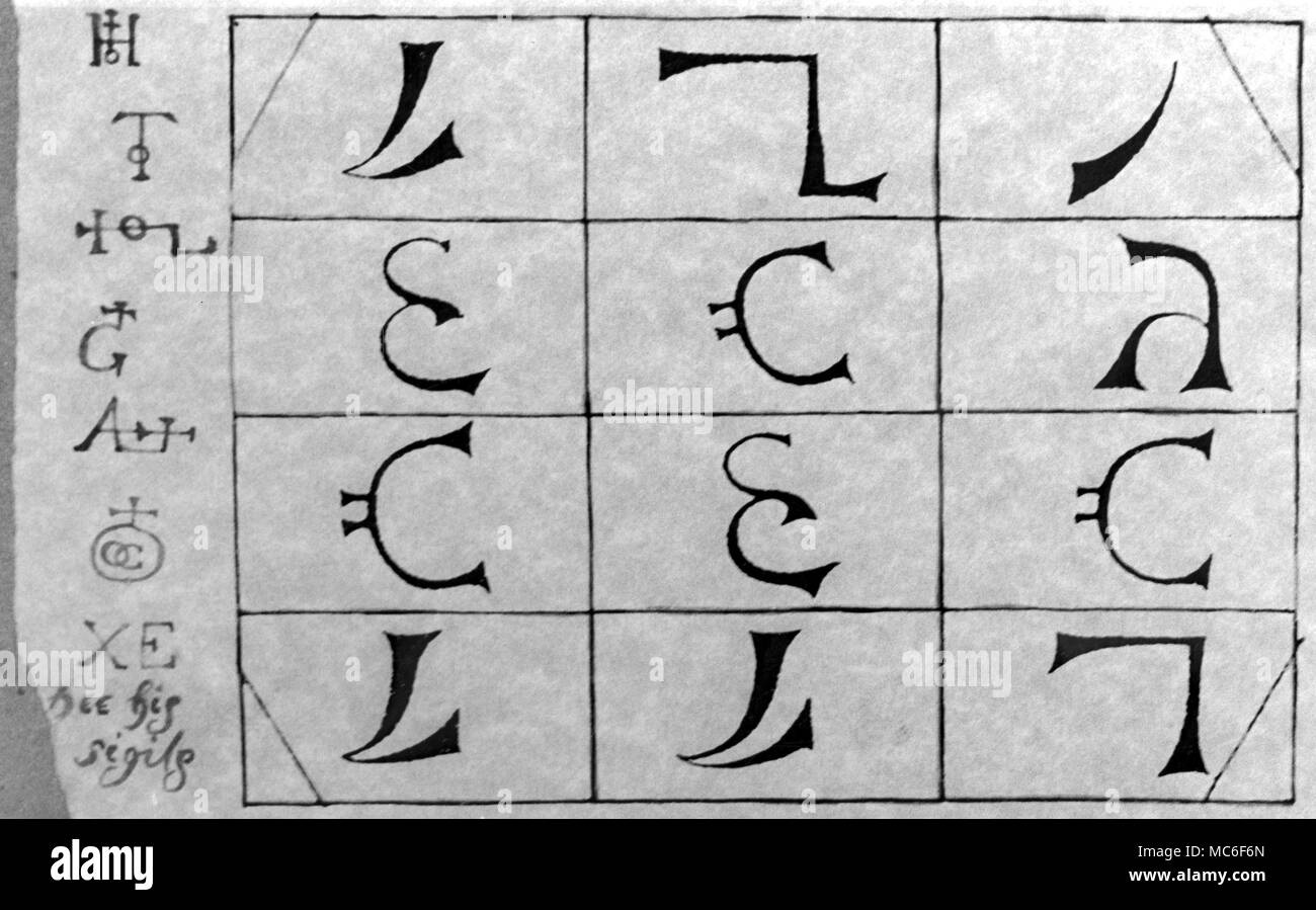 Some of the letters of the secret Enochian language, used in Elizabethan times.  The sigillic group, from which this artwork was made, was the centre of a magical table used by the occultist, John Dee, and his partners in raising Enochian spirits to their bidding.  This table was illustrated in metric Casaubon's A True and Faithful Relation of what passed for many years between Dr John Dee and some spirits, 1657. - Stock Image