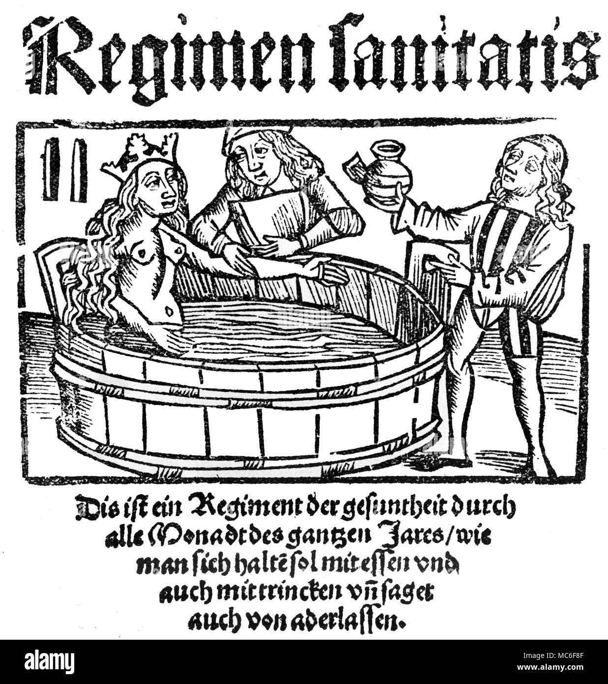 Woman undergoing water treatment from the 'Regimen Sanitatis', printed in Strassbourg in 1513 - Stock Image