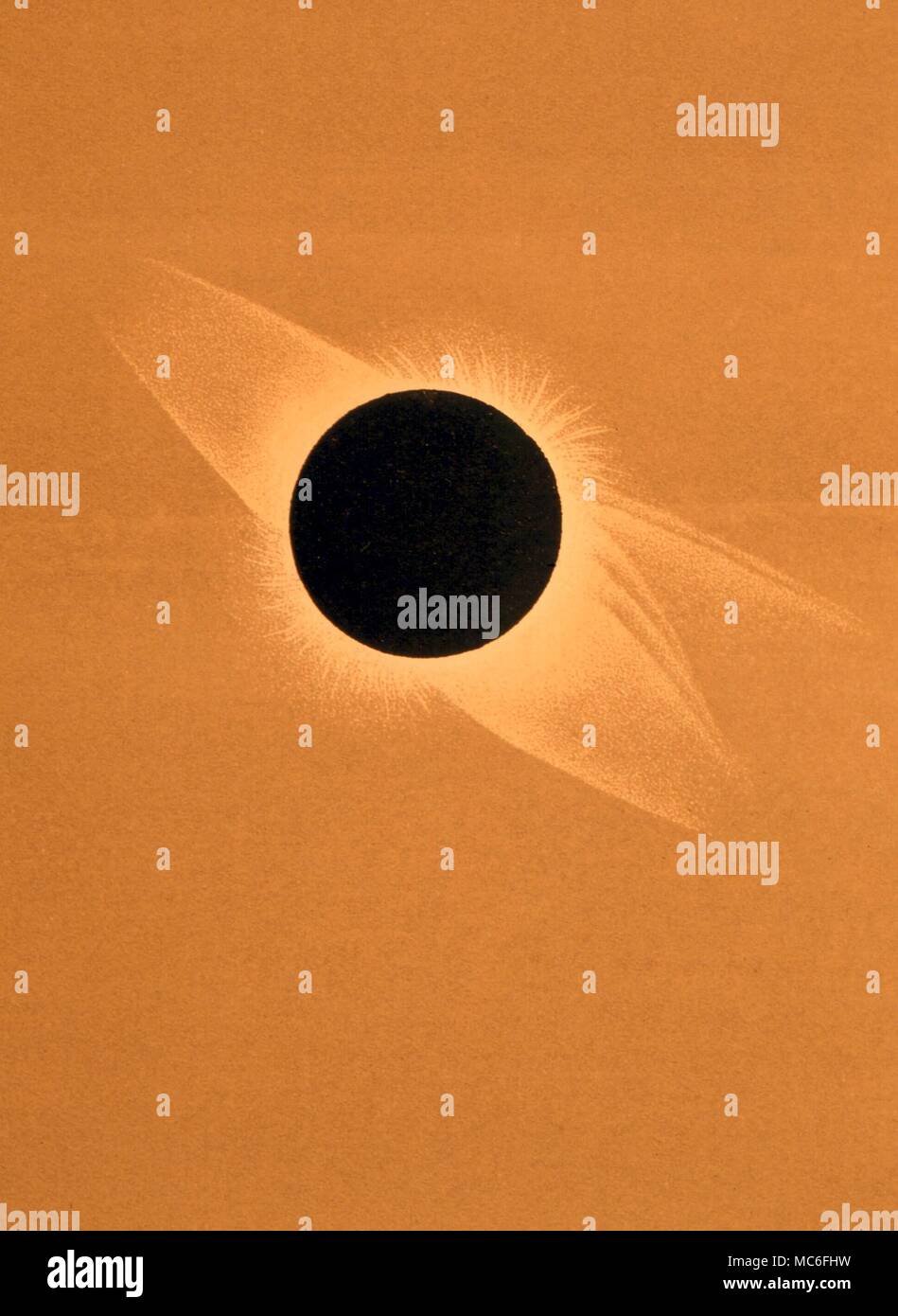 ASTROLOGY Total solar eclipse, July 29,1878. Lithograph after photograph by Harkness Stock Photo