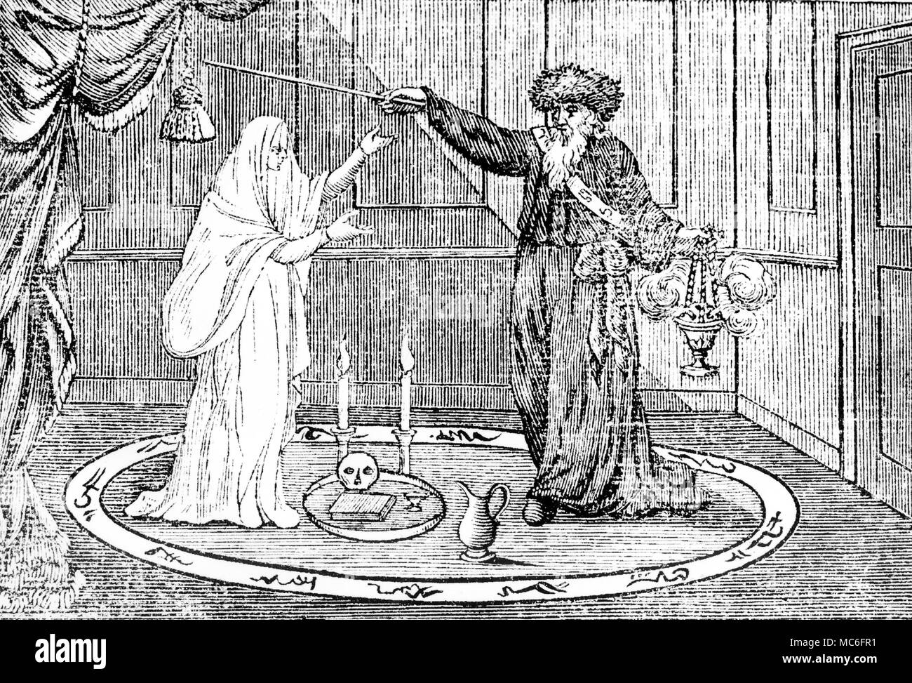 Spectral evidence has always been linked with the entertainment business, so that the earliest seances were little more than experiences of 'entertainment' to those who frequented them.  This early 19th century woodengraving shows the magician De Philipsthal performing 'Phantasmagoria' on the stage of the Lyceum, London in 1803 - Stock Image