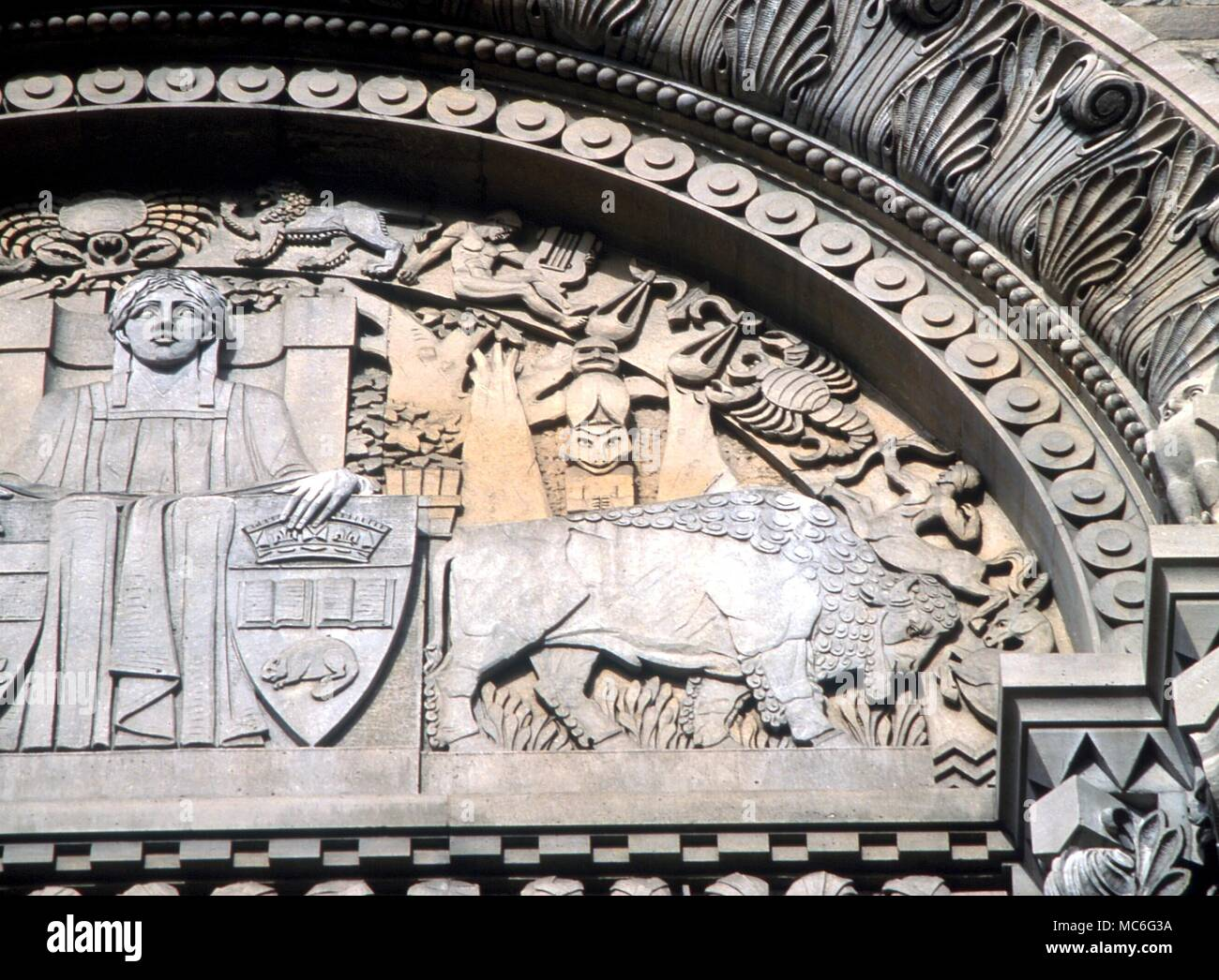 Animals relief carving of a bison on the tympanum of the royal