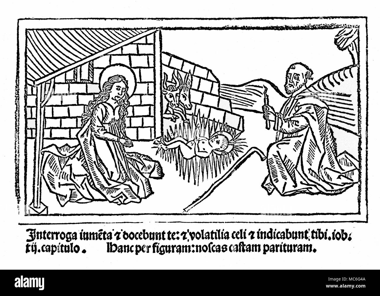 CHRISTIANITY - VIRGIN BIRTH The miracle of the Virgin birth - illustrative of the text in Luke's Gospel.   The woodcut is from Franciscus de Retza, Defensorium inviolatae virginitas Mariae, late 15th century, arguing for the legitimacy of the fact of the Virgin birth, by listing other miracles that are known to have occurred. Stock Photo