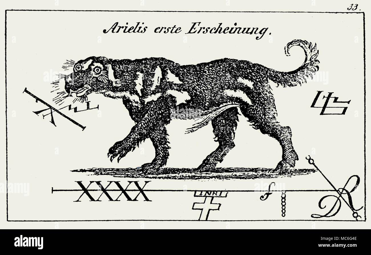 DEMONS - BLACK DOGS - ARIELIS The first manifestation (or way of appearing at conjuration) of the demon Arielis (this name is seemingly adopted to distinguish from the sprite, Ariel), along with a number of sigils supposedly linked with his name in grimoires.   From Schiebel, Faustbuch, 1843. - Stock Image