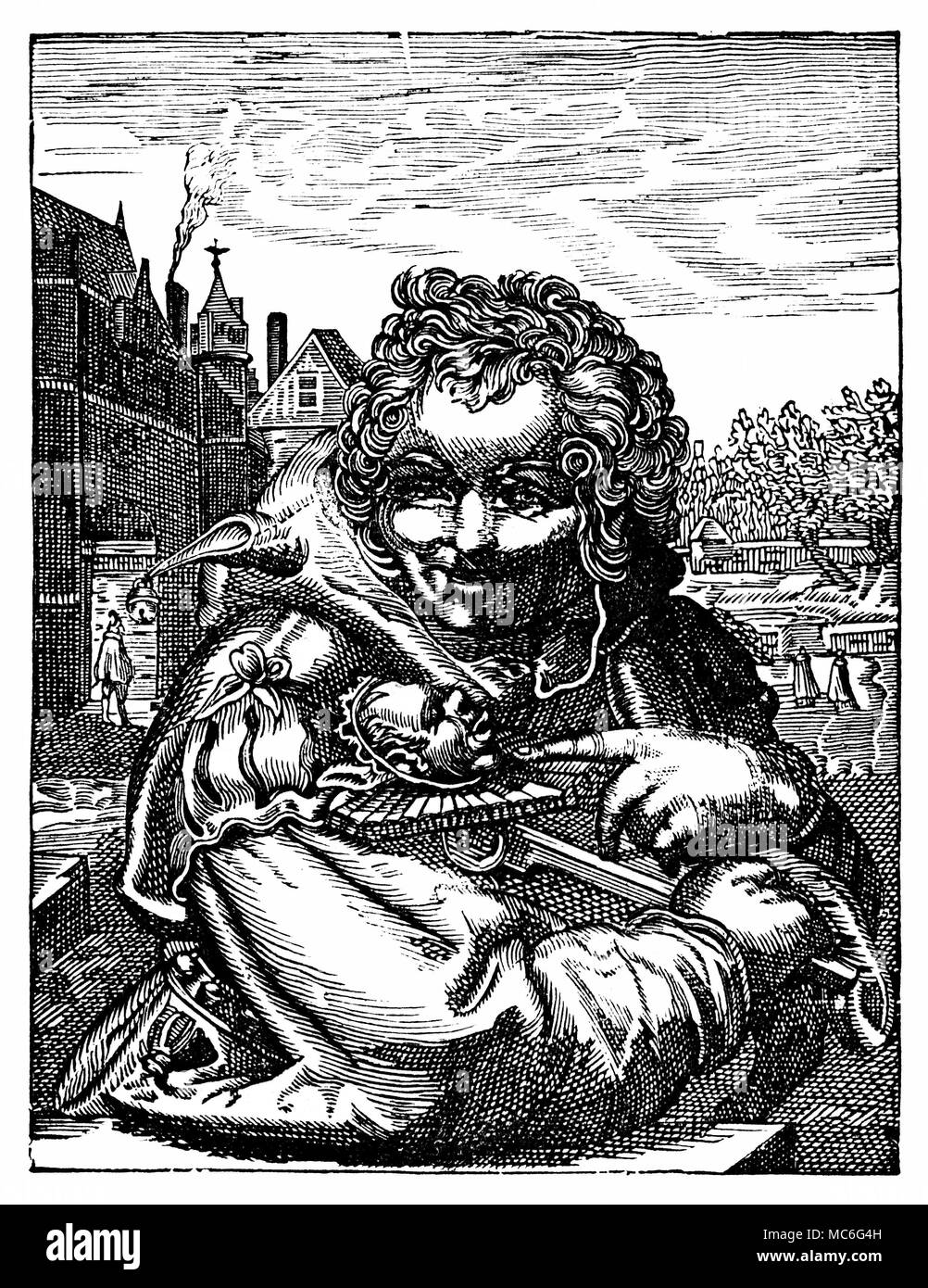 CLOWNS - FOOLS Woodengraving, reference to the Feast of Fools, when the grinning bauble, or fool's head, was held as God.  Frontispiece to William Hone, Ancient Mysteries Described, Especially the English Miracle Plays, 1823. - Stock Image