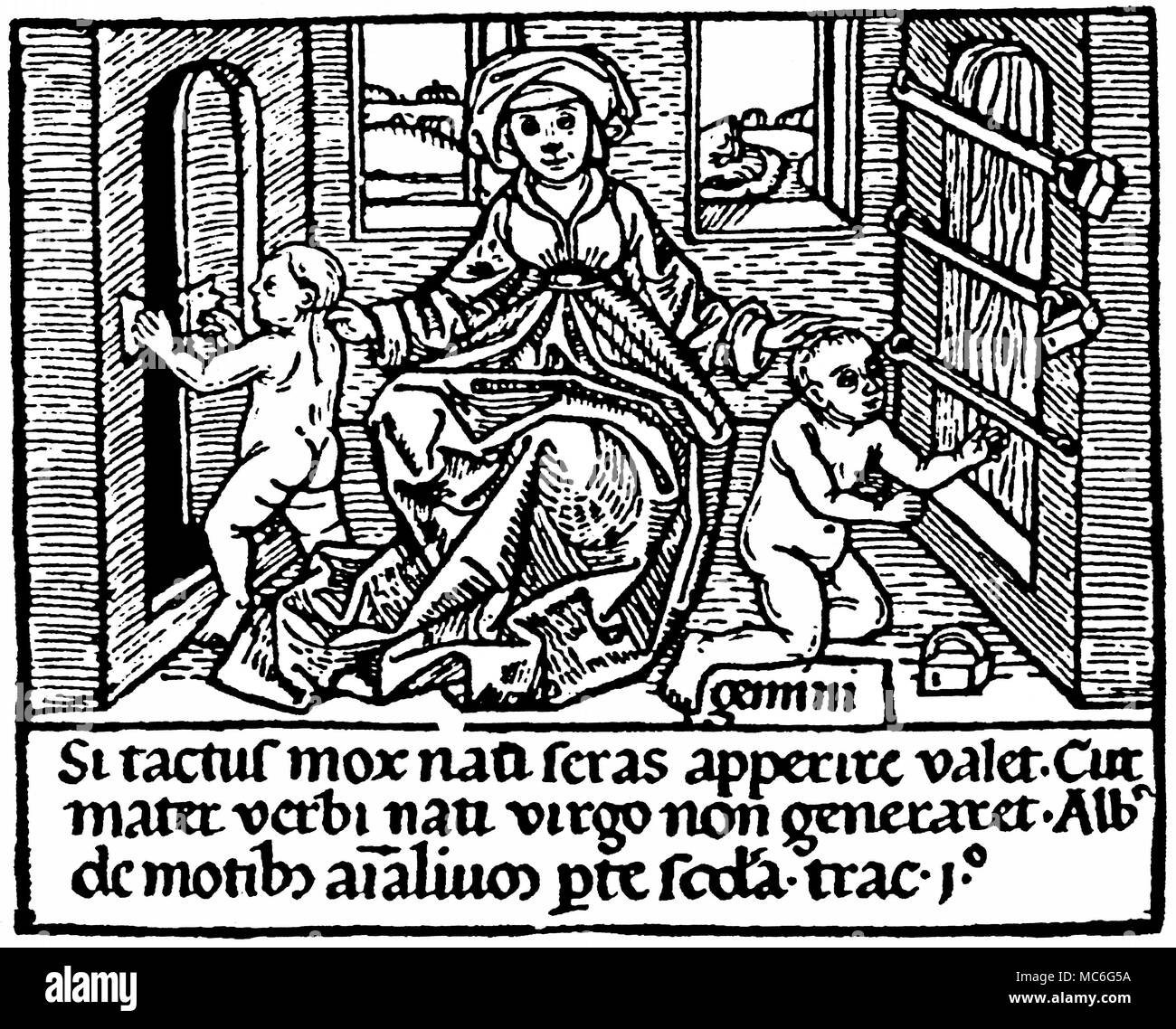 STRANGE PHENOMENA - CHRISTIANITY The 'miracle' of two children [hence the word Gemini, meaning Twins], born with the magnetic power sufficient to open locks.  The woodcut, illustrating this power, is a visual argument that if this may happen then why should not the miracle of the virgin birth also occur.  The quotation is from Albertus Magnus, De Motibus Animalium.   Woodcut from Franciscus de Retza, Defensorium inviolatae virginitas Mariae, 1471. - Stock Image