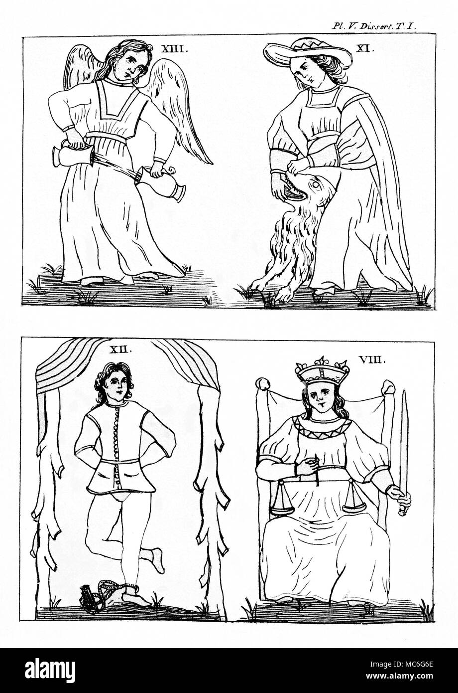 TAROT CARDS - GEBELIN DESIGN - TEMPERANCE - STRENGTH -  HANGING MAN - JUSTICE [Top left] Temperance, offered as a misprint as card 13 of the set pictured by the French Mason, Court de Gebelin, in 1773, based on the Marseille decks he had seen. The card should properly be number 14 in the series, for the  13th card is that given over to Death.  See Court de Gebelin, Le Monde primitive, Vols. III [1773] and VIII [1781].  [Top right]  Strength, card 11 of the Gebelin design.   [Bottom left]  The Hanging Man, card 12 of the Gebelin design, which (we observe that the Man is portrayed with his foot  - Stock Image