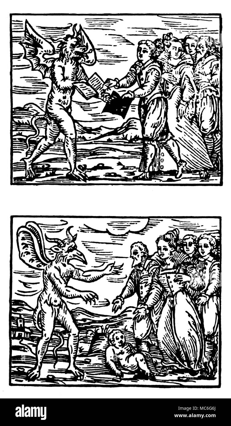WITCHCRAFT - DEVIL AND WITCHES - BOOK OF DEATH [Top]  The witches, having begged the Devil to scratch their own names from the Book of Life, request him to inscribe them in the Book of Death. The seventh requirement of the Pact made between witches and their master, the Devil.  [Bottom]  The witches promise the Devil that they will make a sacrifice to him - most usually, this sacrifice is of a new-born infant.  In some cases, the witches undertake to strangle or suffocate for the Devil one child every fortnight, or month. The eighth requirement of the Pact made between witches and their master Stock Photo