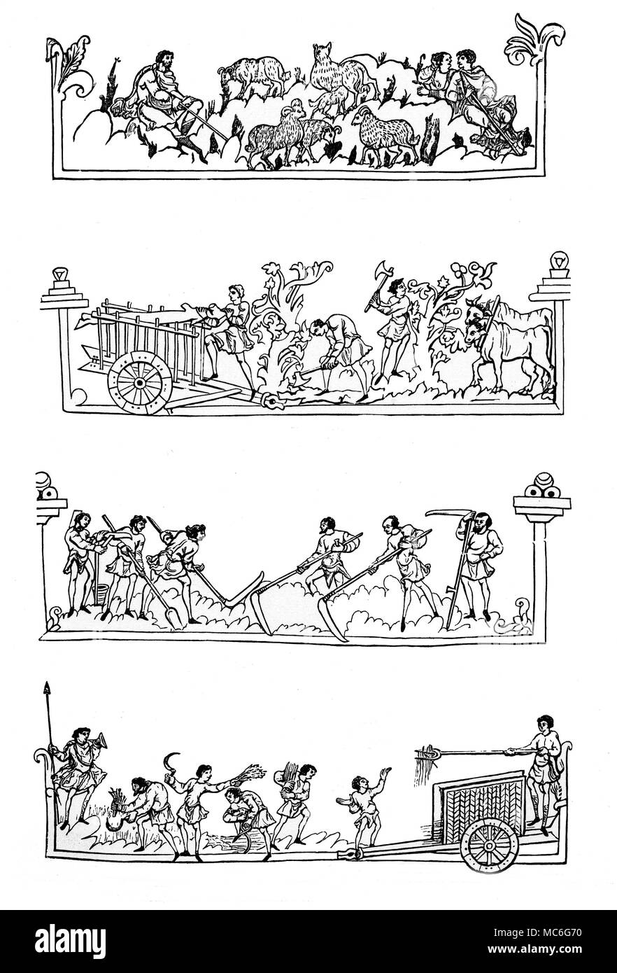 MONTHS - CALENDARS - MAY TO AUGUST Eleventh century Calendar, portraying the Months, and the activities associated with them, in a rural community.   The woodengravings are based on the Calendar in mss. Cottonian Ju. A. vi, in the British Library, made for the 1902 edition of J.R. Green, A Short History of the English People. [Reading from top, downwards]:  May, with the activity of guarding sheep.  June, with the communal activity of cutting and storing wood.  July, with the activity of haymaking.   August, with the activity of Harvesting. - Stock Image