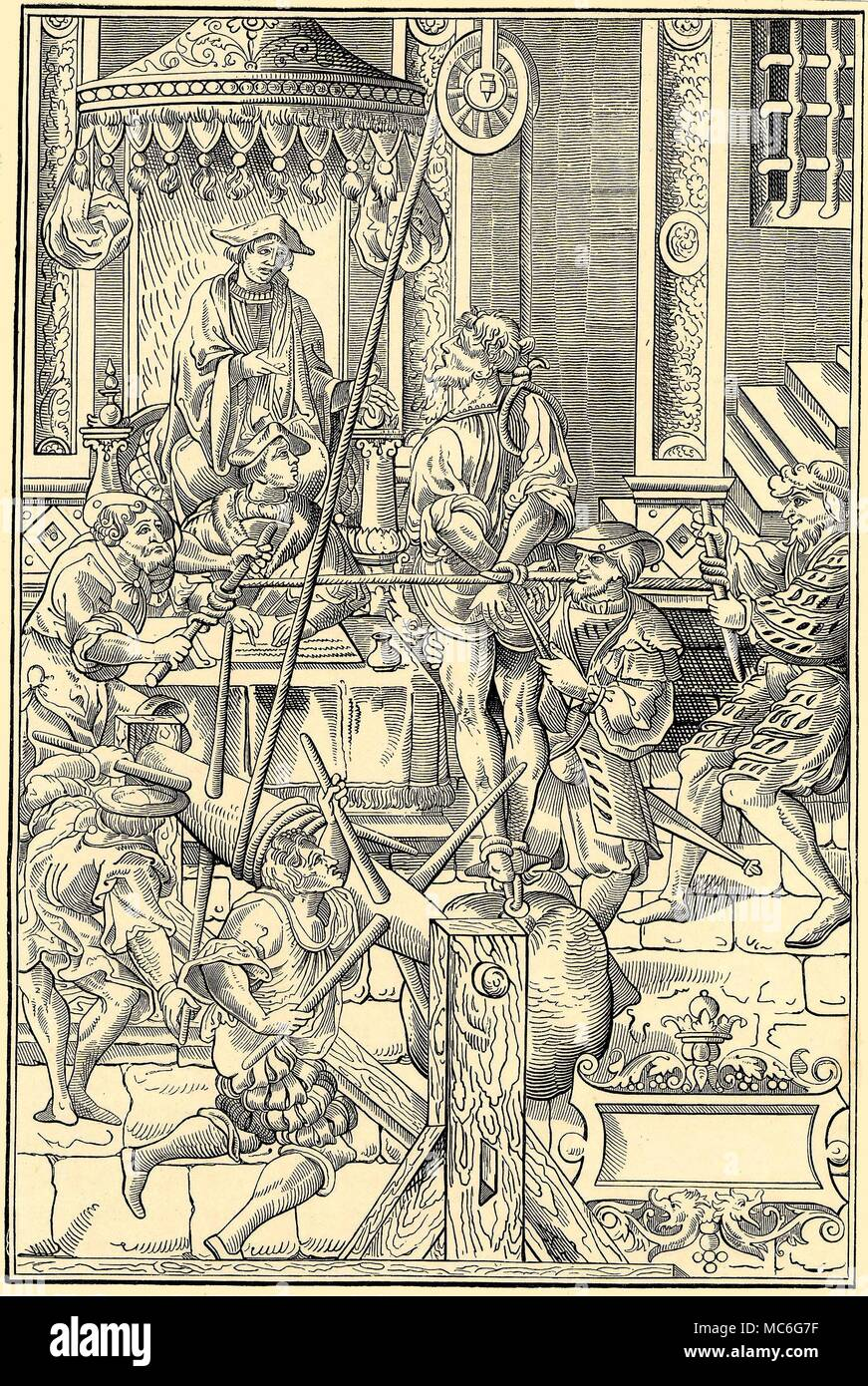 TORTURE  - ESTRAPADE An illustration of the Estrapade, or 'Question Extraordinary', used by the Inquisition on suspected heretics.  The victim is hung by  one shoulder, with heavy weights tied to his feet:  usually his shoulder is rapidly dislocated.  His hands, tied behind his back by rope, is subjected to a cruel tourniquet, which squeezes blood from his fingers.  After a facsimile of a woodcut in J. Millaeus, Praxis Criminalis Persequendi, 1541. - Stock Image