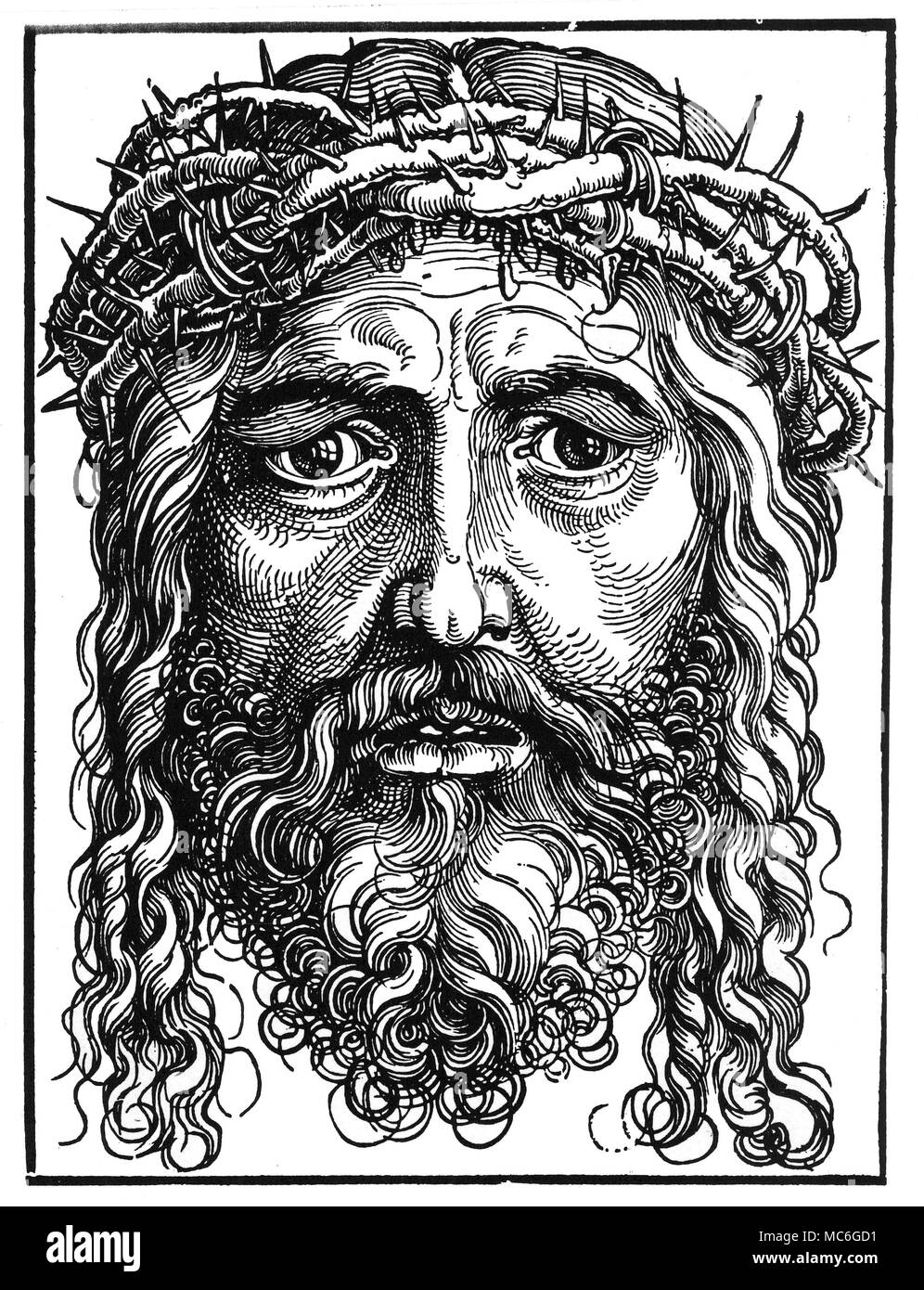 CHRISTIAN - THE FACE OF CHRIST Woodcut usually associated with the German artist, Albrecht D³rer, but probably designed and cut by Hans Sebald Beham, circa 1510. - Stock Image