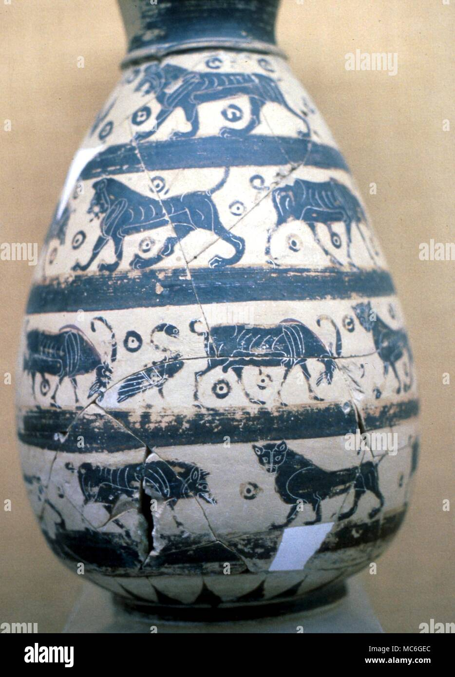 Lions and other animals on an ancient Greek vase in the Mykonos Museum - Stock Image