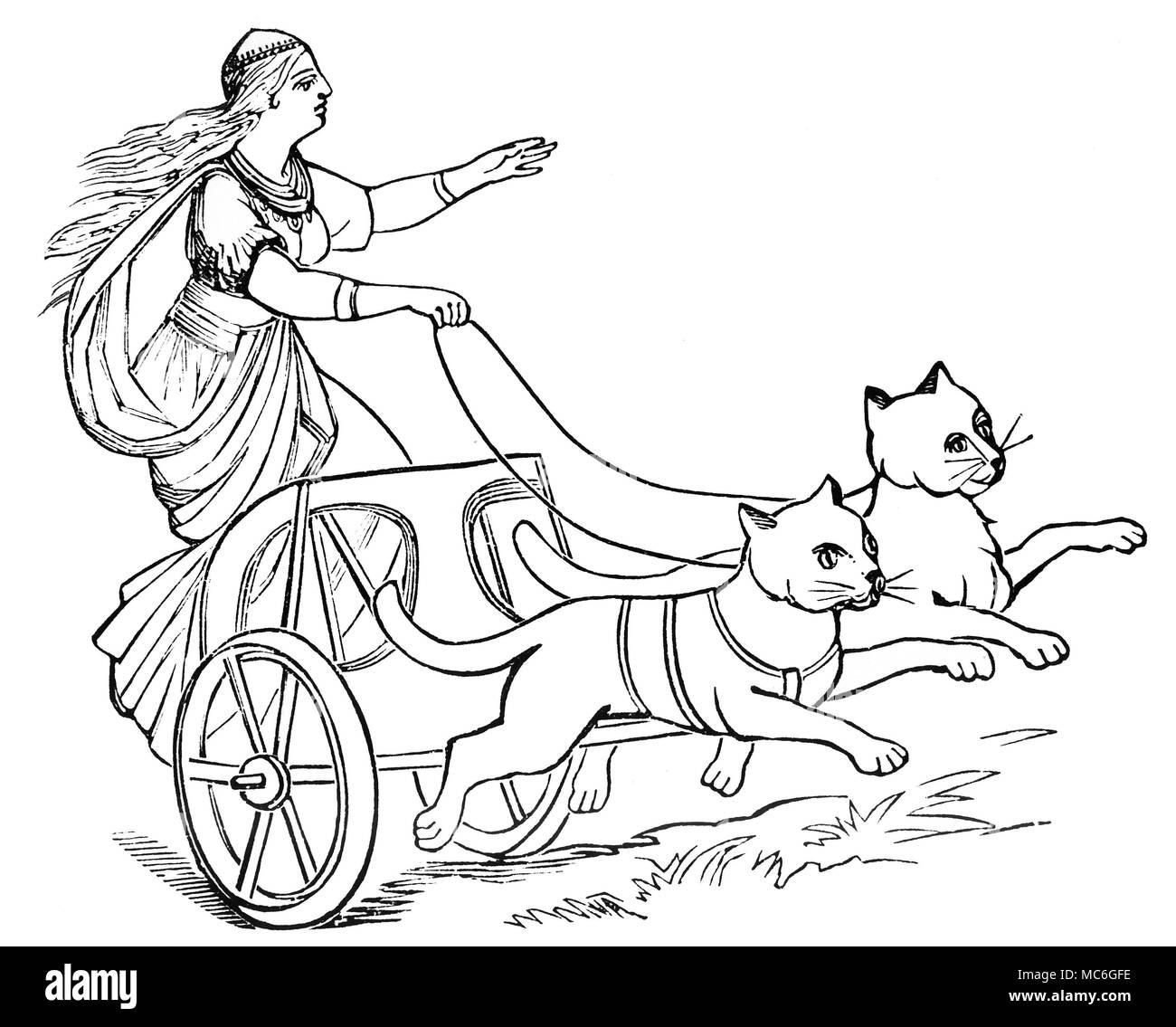 Teutonic Mythology Freya The Goddess Freya In Her Chariot