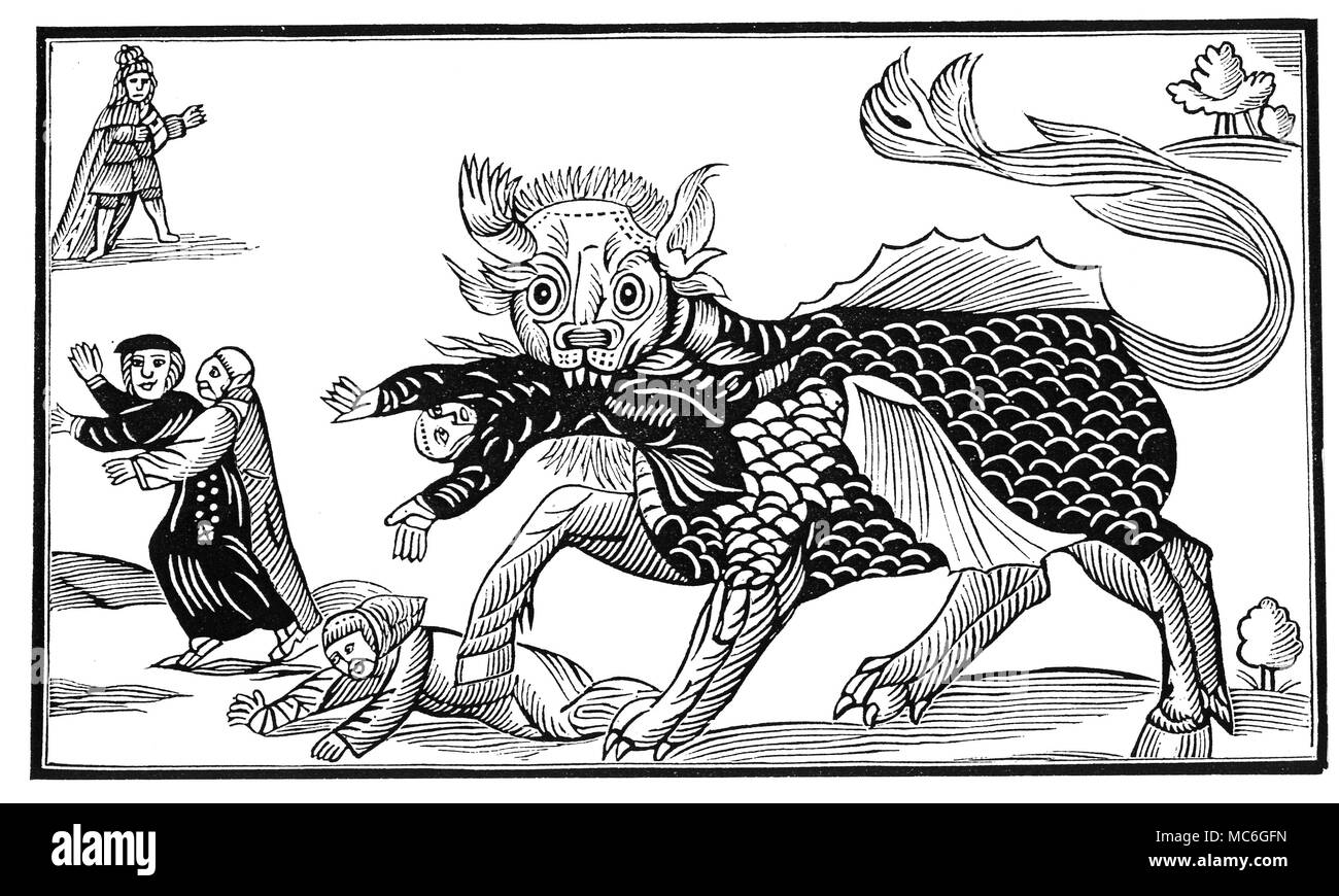 MONSTERS - DRAGON OF WANTLEY Wood-engraved copy of the Dragon of Wantley from the broadsheet, An Excellent Ballad of that most Dreadful Combate fought Between Moore of Moore Hall, and the Dragon of Wantley. Wantley seems to be a corruption of Wharncliffe, near Sheffield.  The myth of the dragon seems to be built around the personality and ambitions of the landlord, Sir Thomas Wortley, who, in his fondness for hunting, threw tenants of his land, 'eating up houses and churches, people and cattle', in the process. - Stock Image