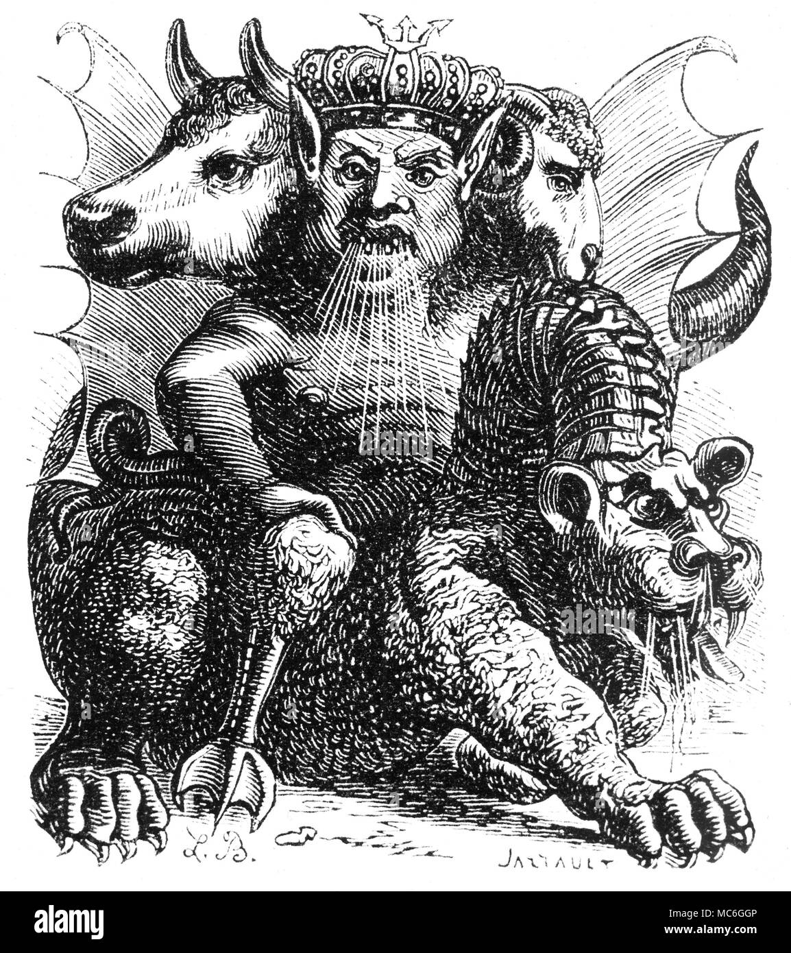 DEMONS - ASMODEUS Described as a 'destructive demon', Asmodeus is supposed to spread dissipation and terror among humans:  he is credited with being the tempter of Eve.  He is supposed to have been forced to help Solomon build the Temple in Jerusalem.  When conjured, he is able to grant the power of invisibility and is reputed to t each the secrets of mathematics, astronomy and the mechanical arts.  He appears riding a monster, and has the head of a king, the head of an ox and the head of a Ram. His picture is from the 1863 edition of Collin de Plancy, Dictionnaire Infernal. Stock Photo