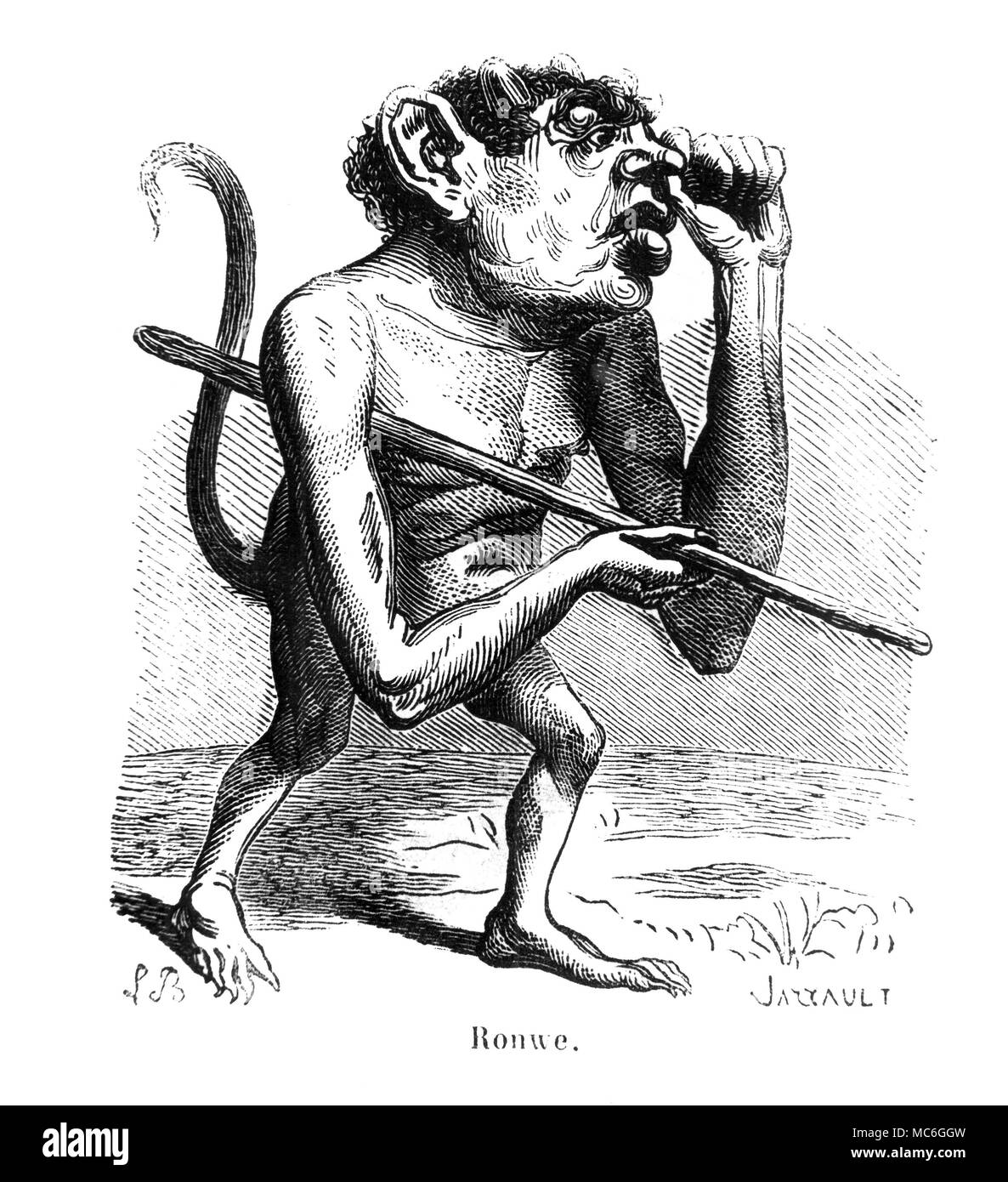 DEMONS - RONWE A Marquis of Hell, who appears in a monstrous humanoid form.  When conjured, he has the power to grand knowledge of all languages, and to offer the conjurer the respect and admiration of all the world. His picture is from the 1863 edition of Collin de Plancy, Dictionnaire Infernal. - Stock Image