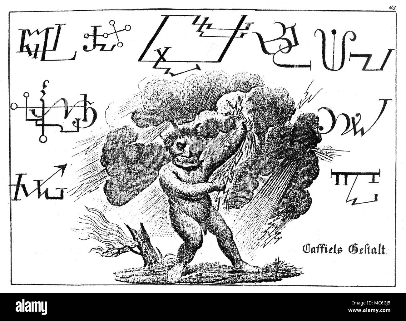 DEMONS - SIGILS - CASSIEL The image of Cassiel, seemingly in control of thunder and lightning, along with nine sigils associated with the demon.  Engraving from Schieble's Faustbuch. - Stock Image