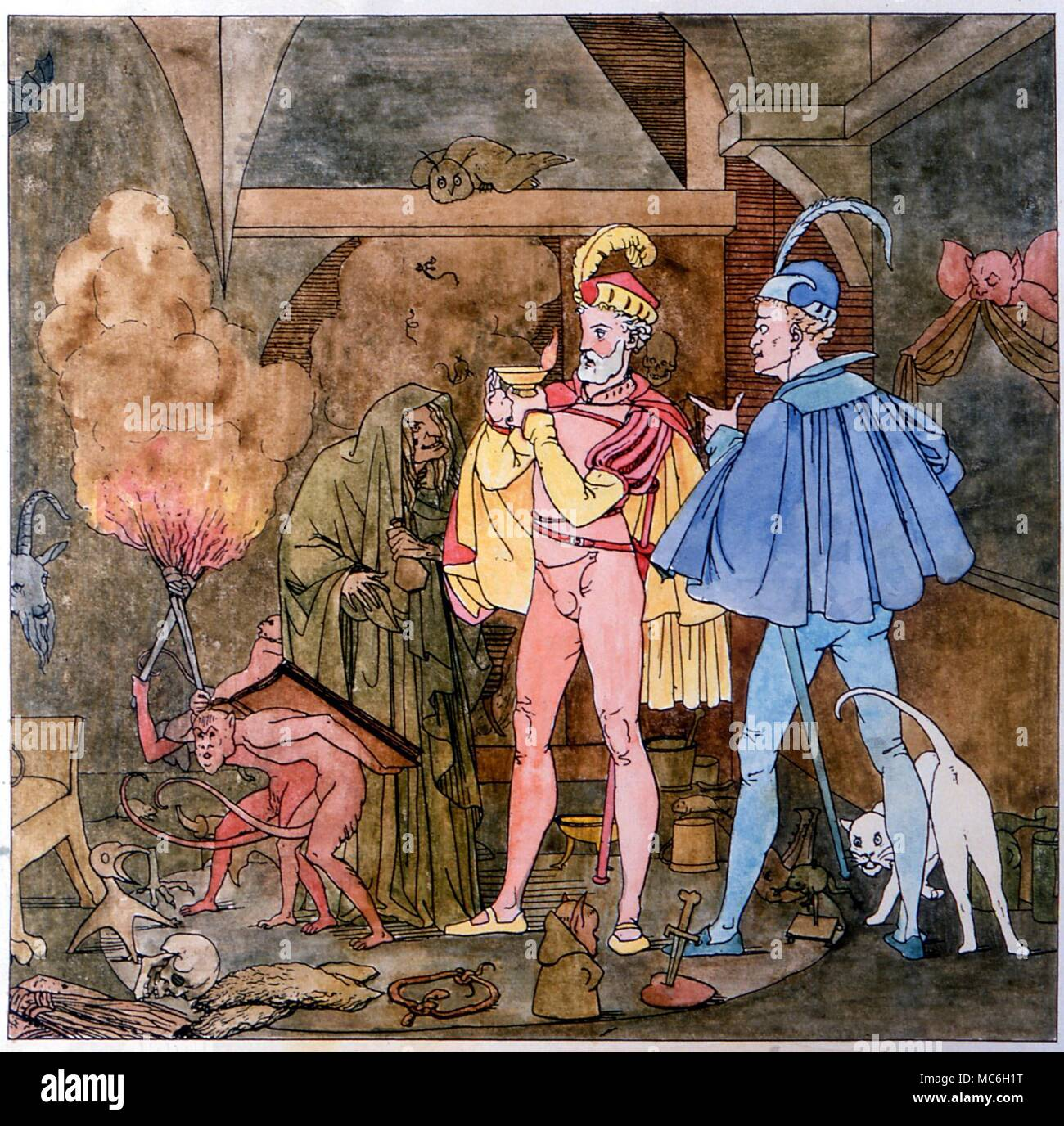 MAGICIANS - Faust and Mephistopheles (of Goethe's play) in the witches hut, surrounded by demons, monsters and magical images.  Faust drinks the witch's.  From M Retzsch, Umrisse zu Goethe's Faust - Stock Image