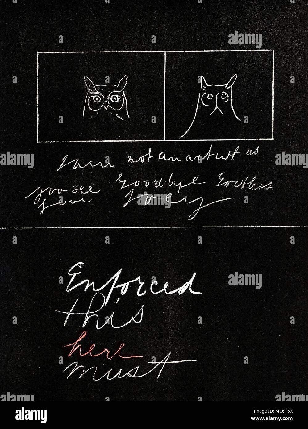 SPIRITUALISM,  Chromolithographic facsimile, by Mr. J G. Keulemans, of slate writing constructed by invisible entities, during a seance with William Eglington.  The simplicity of the four words (Enforced, this, here and must) is illusory.  The four words are a result of an experiment, in which, prior to the spirit writing, and order of colours and words were predetermined, from a given page of a book.  The first word was to be written in white, the 2nd in blue, the 3rd in red, and the 4th in grey.   The randomly-chosen page was 61. The spirit writing reveals the correct page [61], and the corr - Stock Image